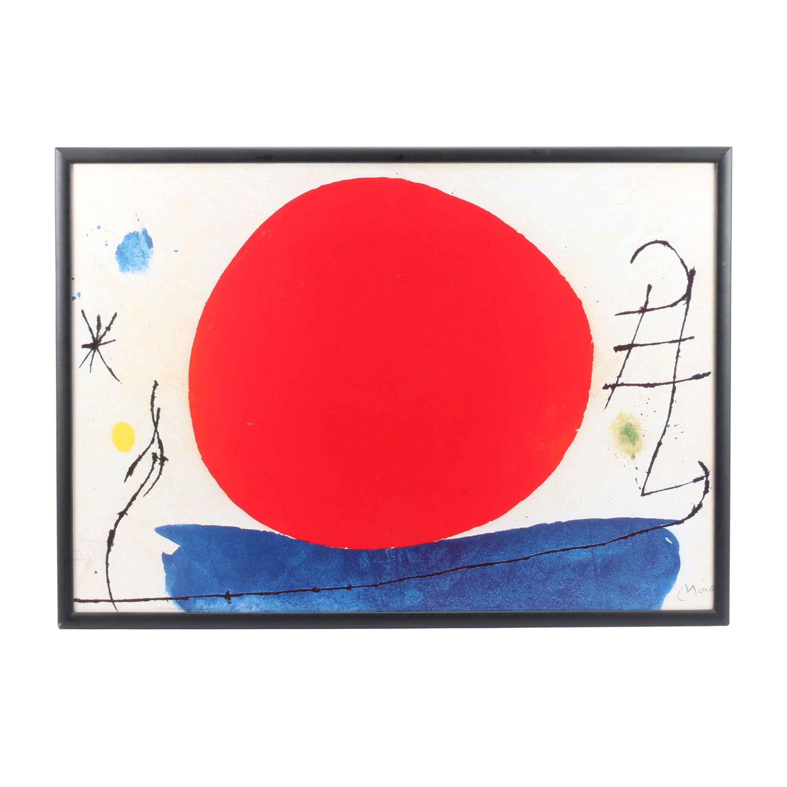 "Offset Lithograph after Joan Miro ""The Red Sun"""
