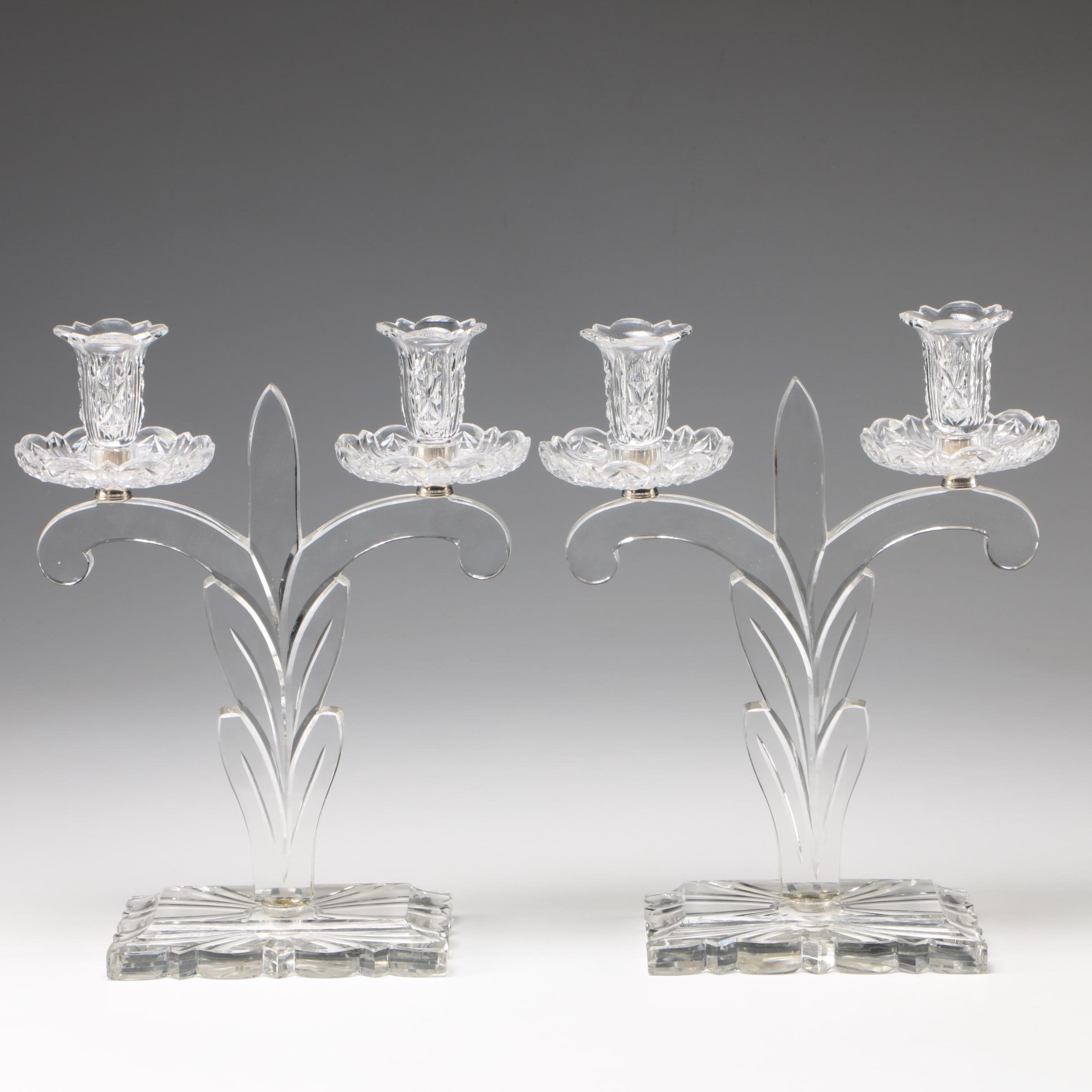 Steuben Art Glass Fleur-de-Lis Candleabra by Frederick Carder