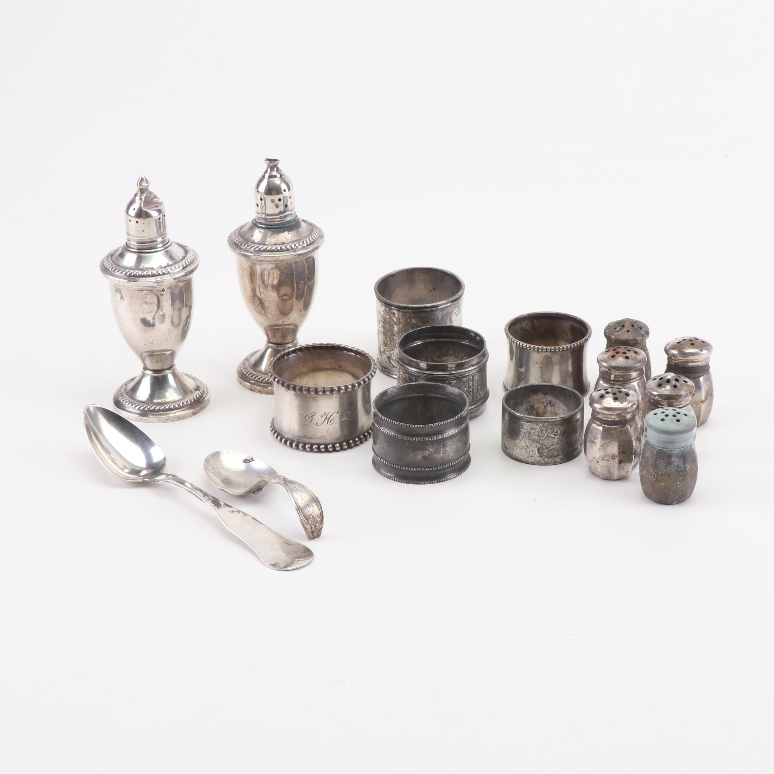 Duchin Creations Weighted Sterling Shaker Set with Other Silver Tableware