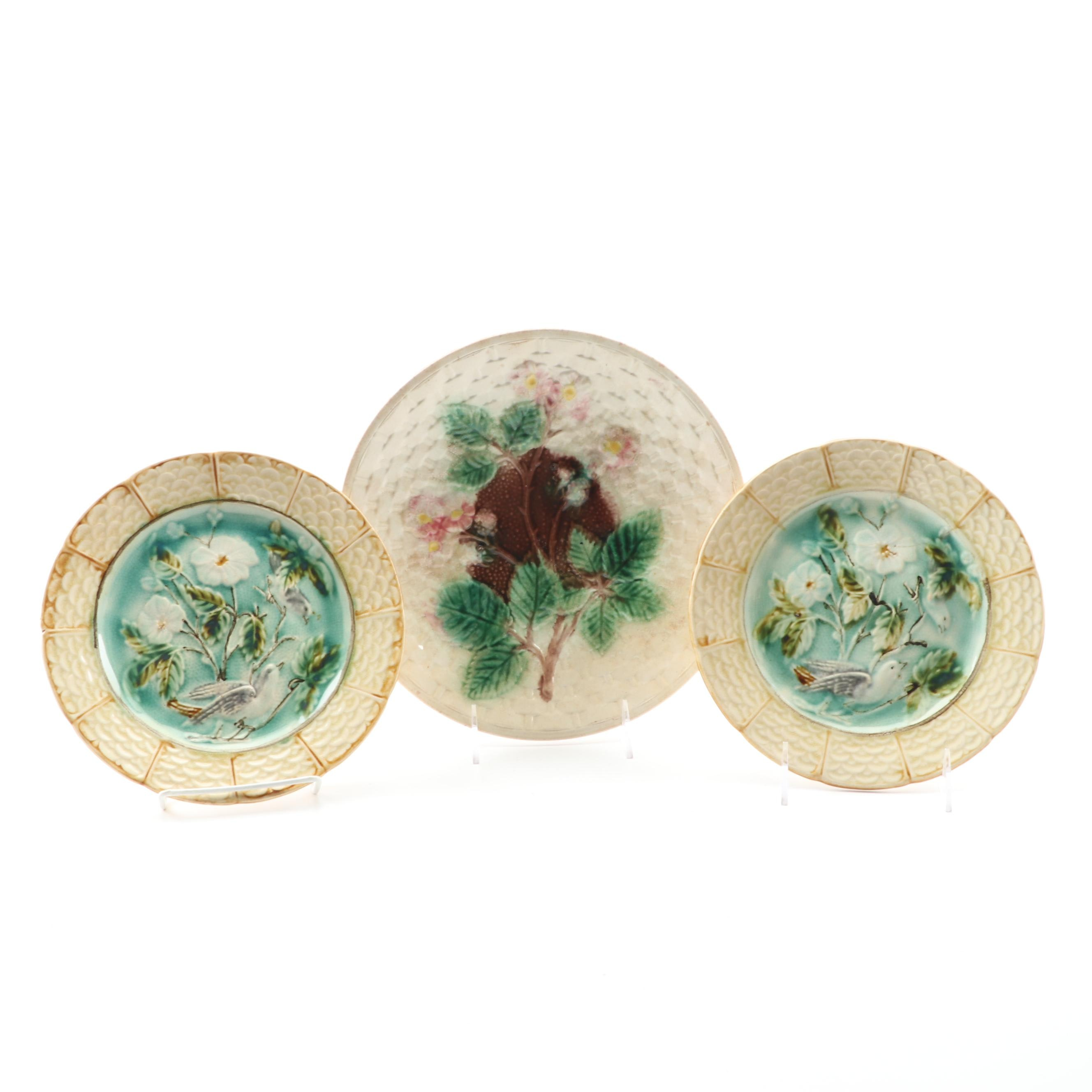Antique Floral Themed Majolica Plates