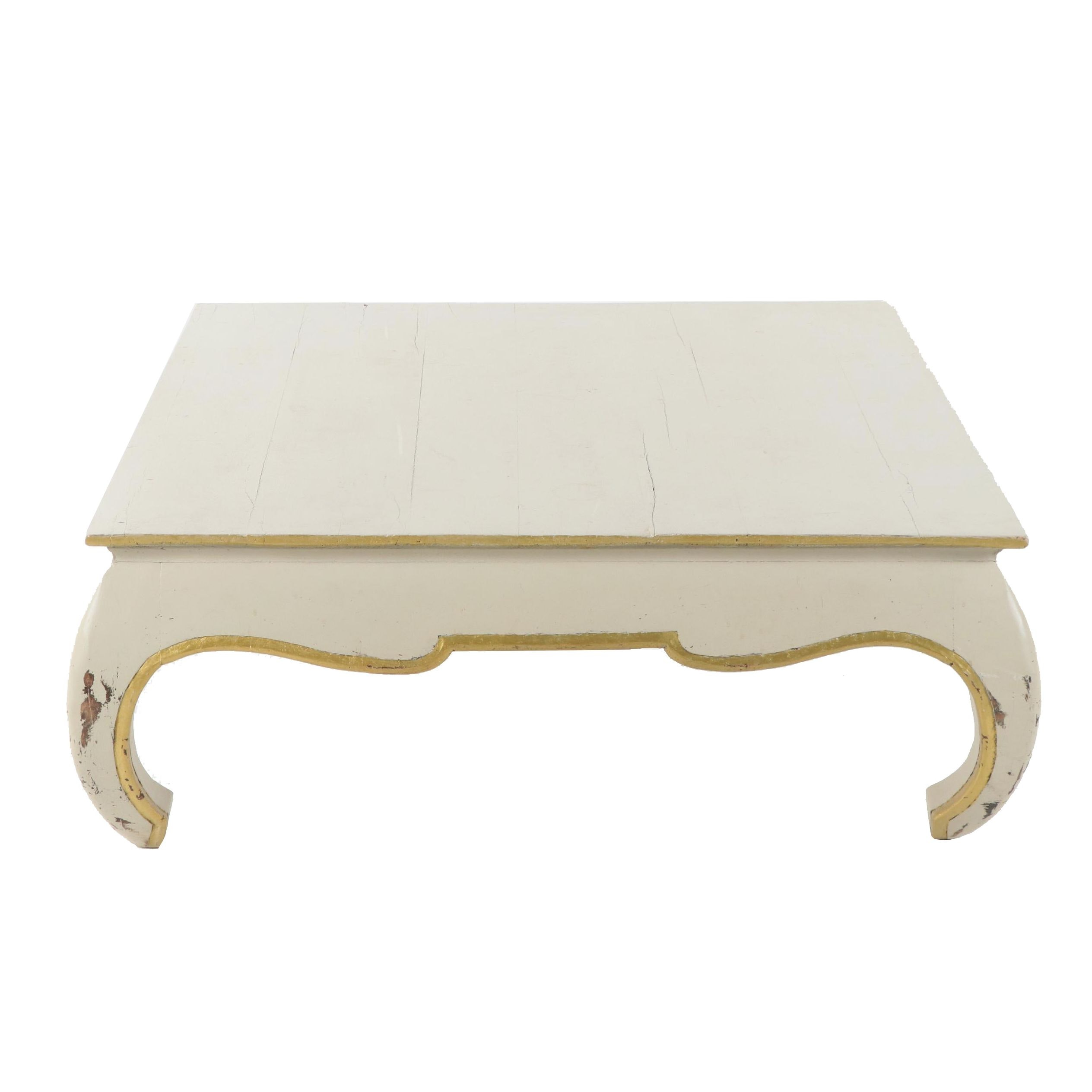 Painted Wooden Curved Leg Coffee Table, 20th Century