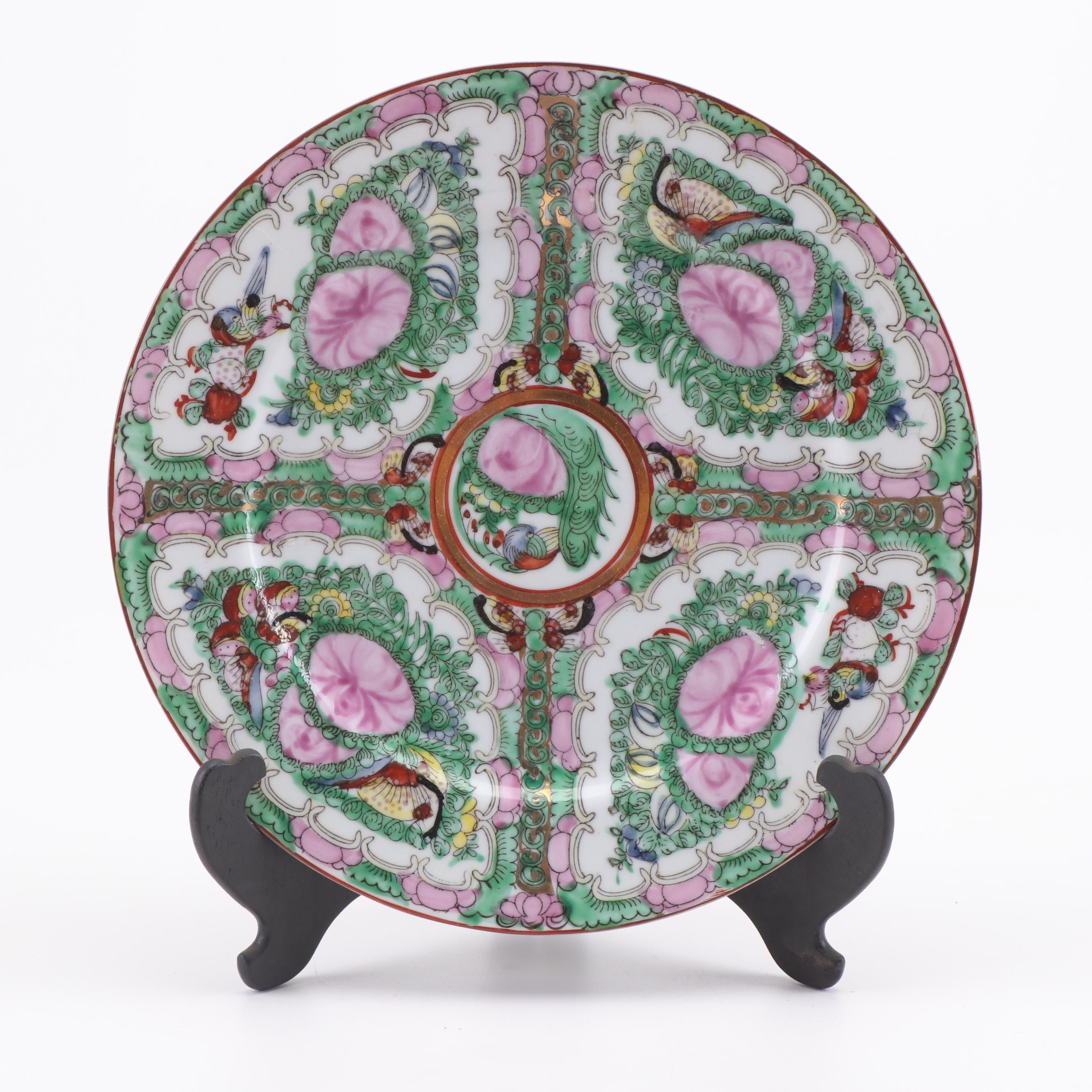 Chinese Rose Canton Hand-Painted Porcelain Plate with Stand