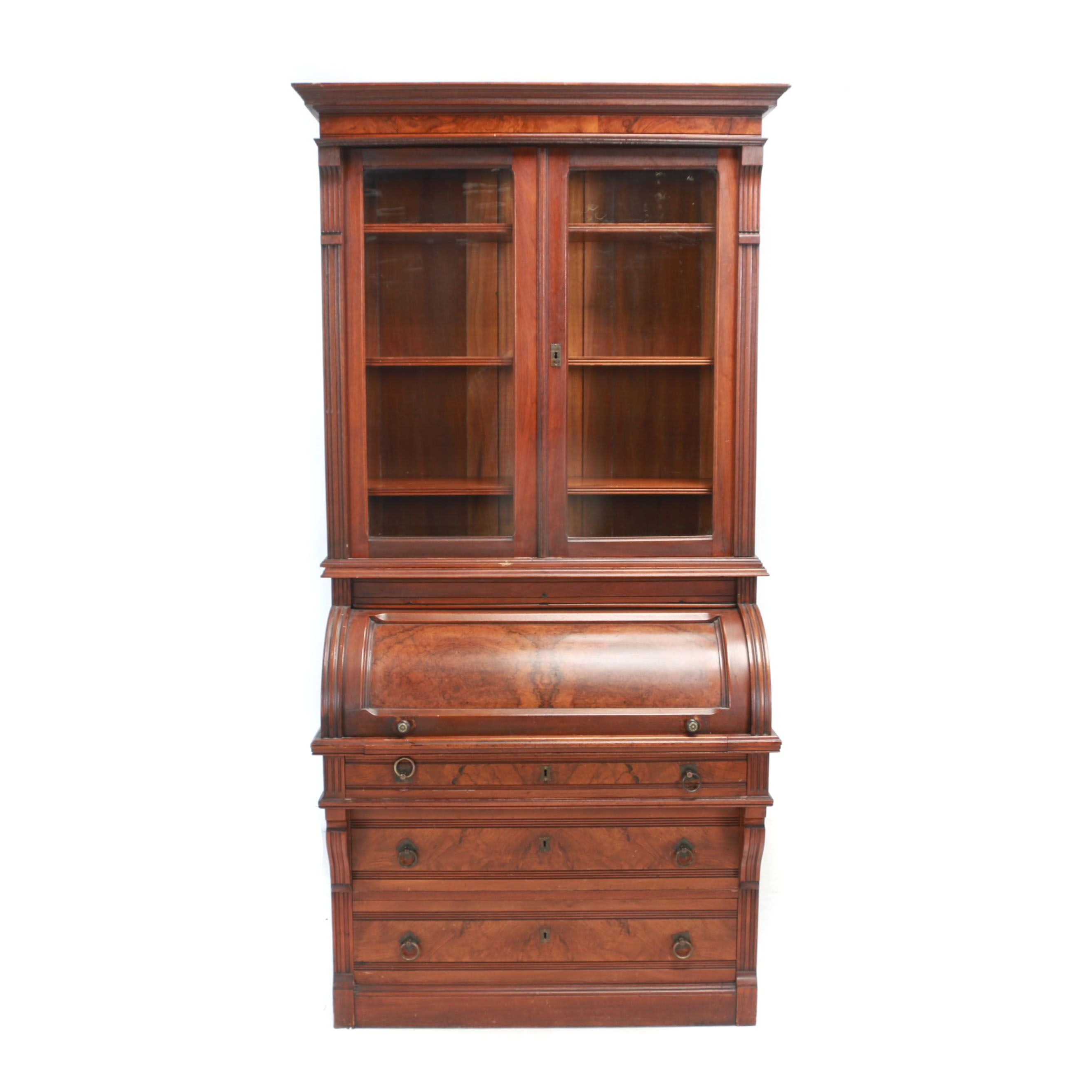 Victorian Walnut and Burl Walnut Cylinder Secretary Bookcase, Late 19th Century