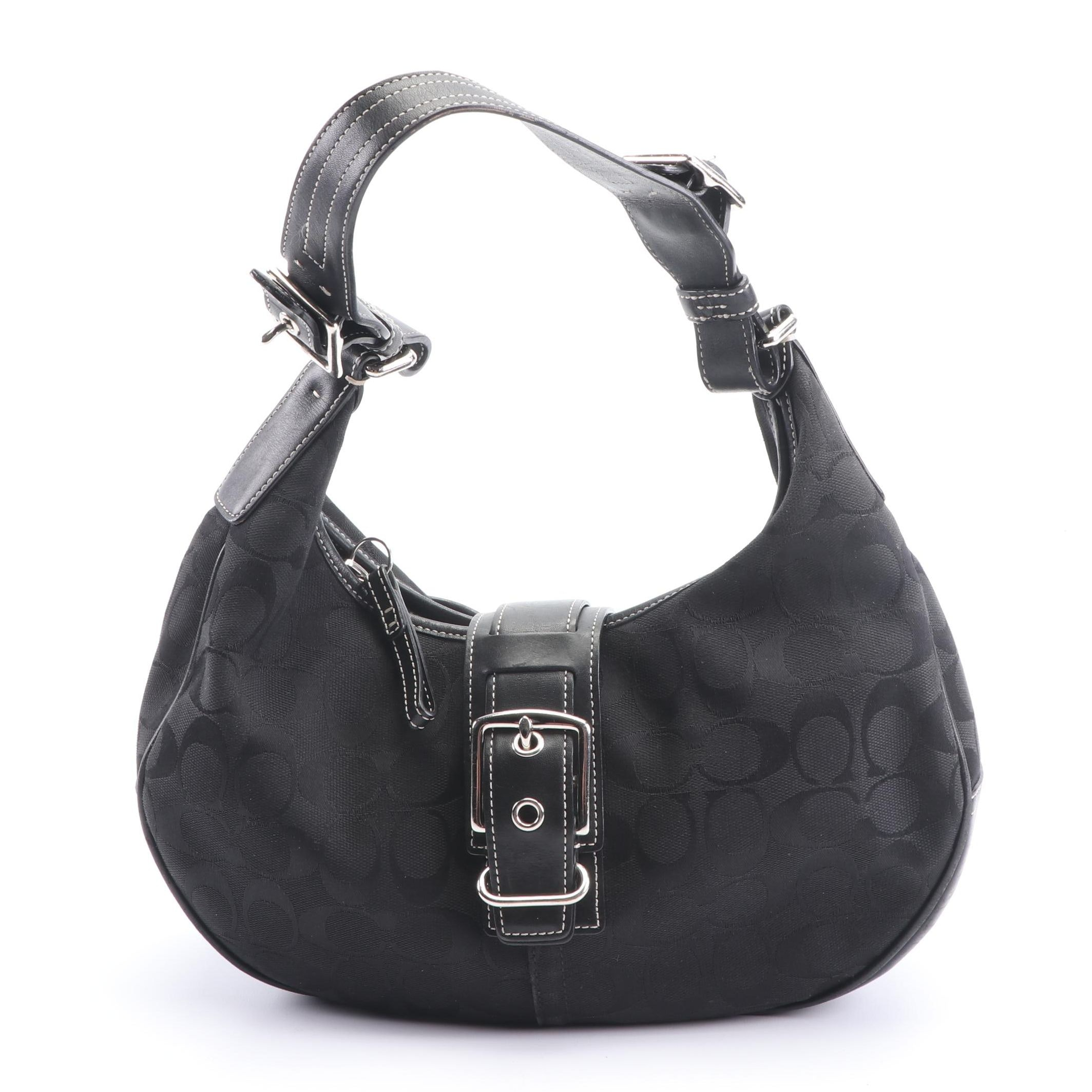 2003 Coach Black Signature Canvas  and Leather Buckle Front Hobo Bag