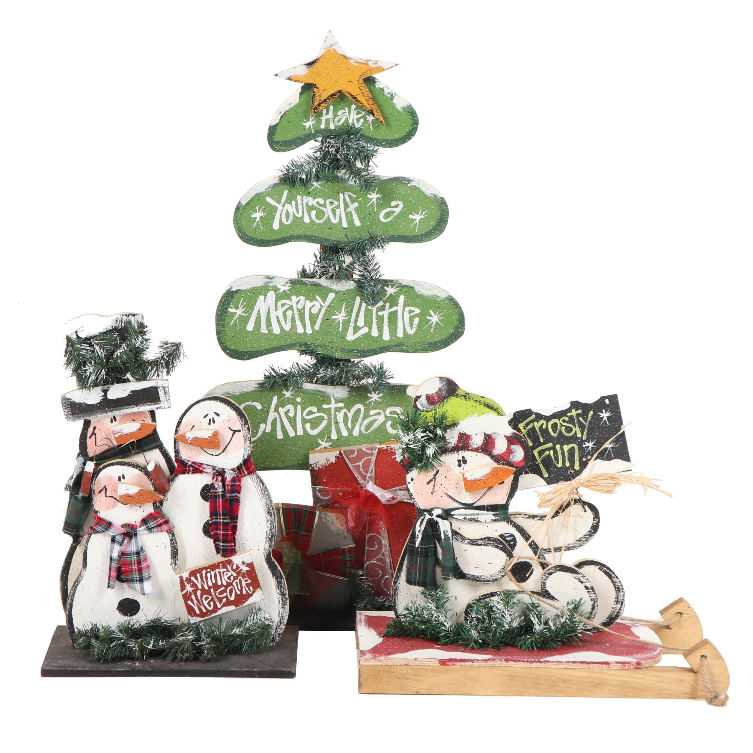 Hand-Painted Decorated Plywood Christmas Decor Featuring Snowmen