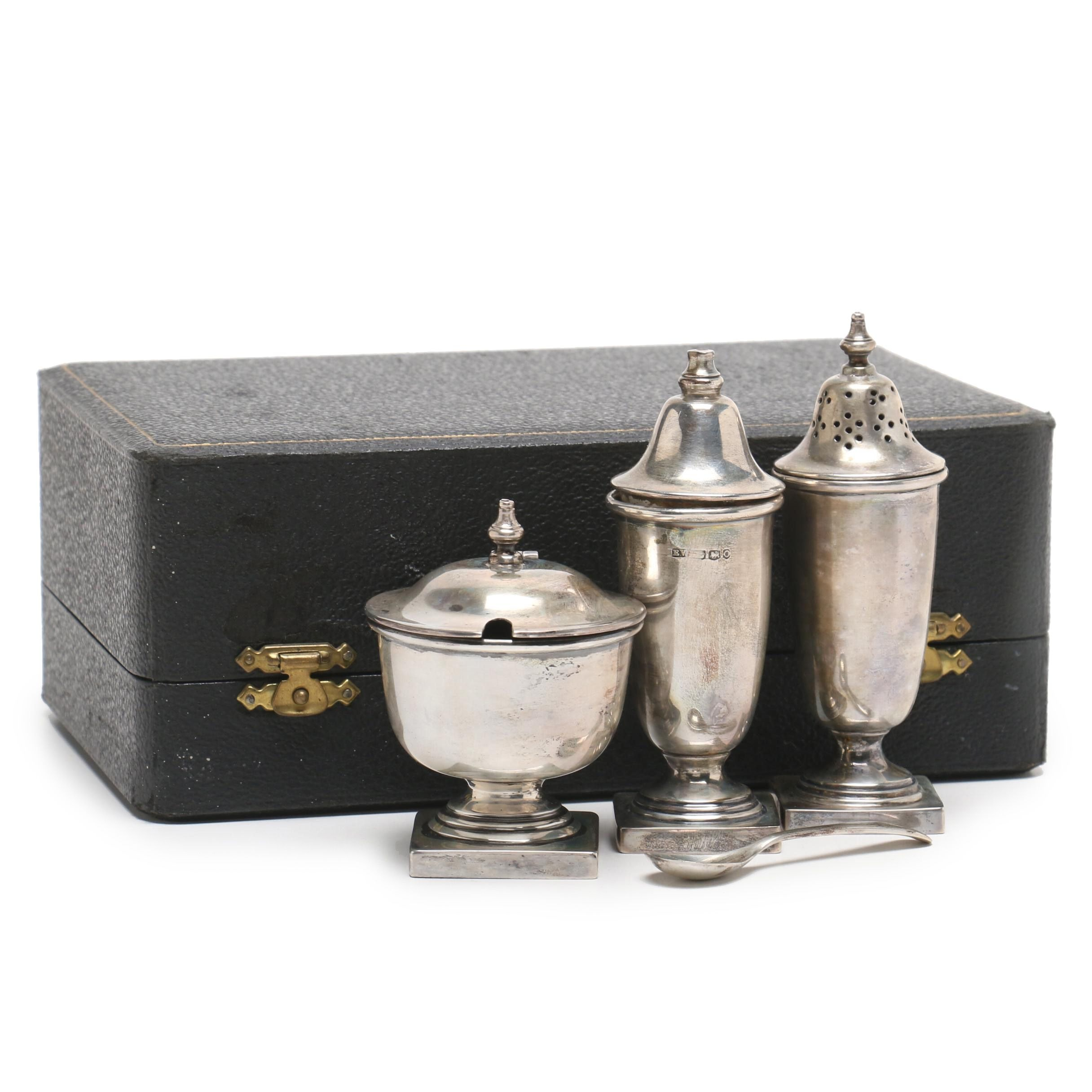 Edward Viner Sterling Silver Salt and Pepper Shakers with Salt Cellar and Spoon