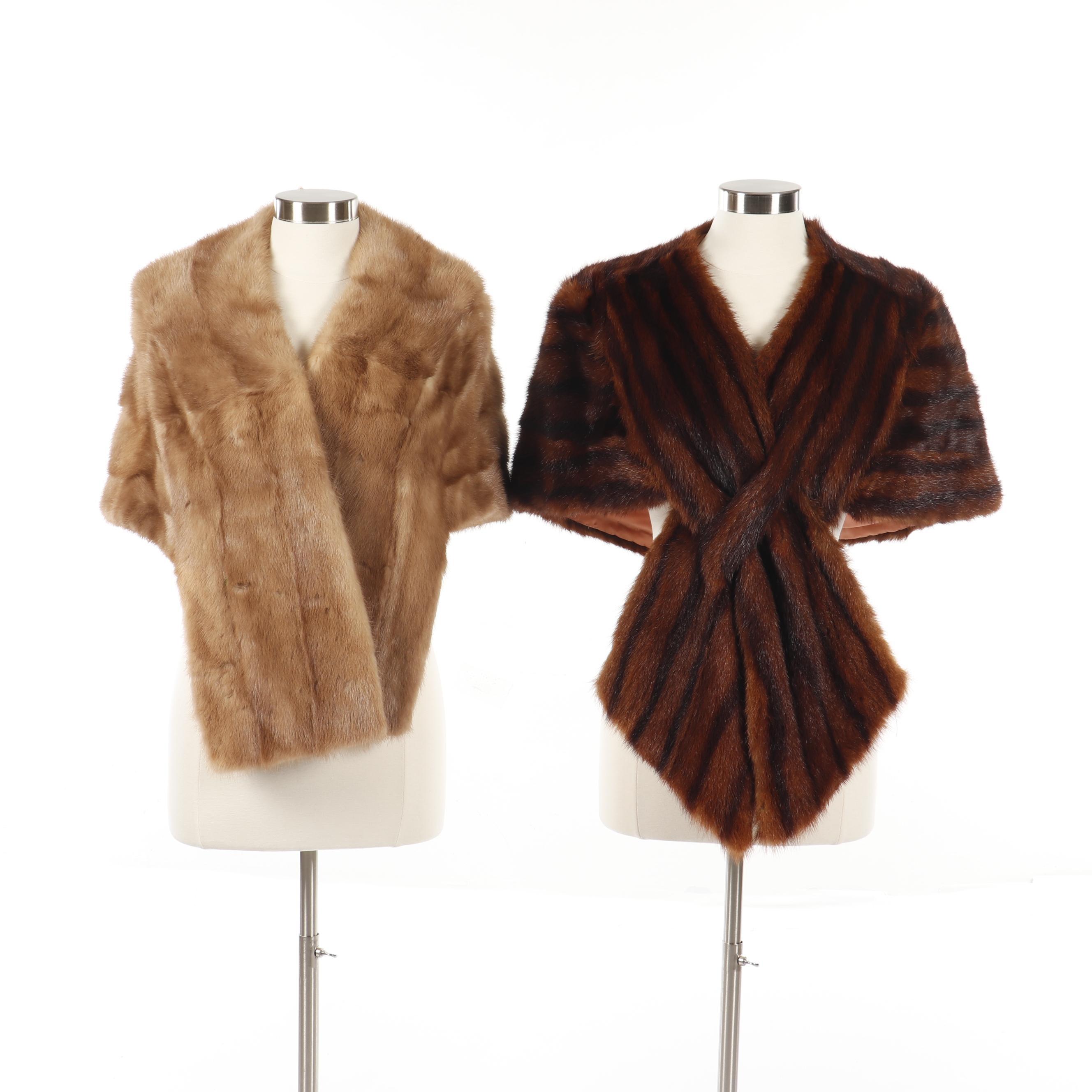 Women's Vintage Mink Fur Stole with Marmot Fur Wrap Stole