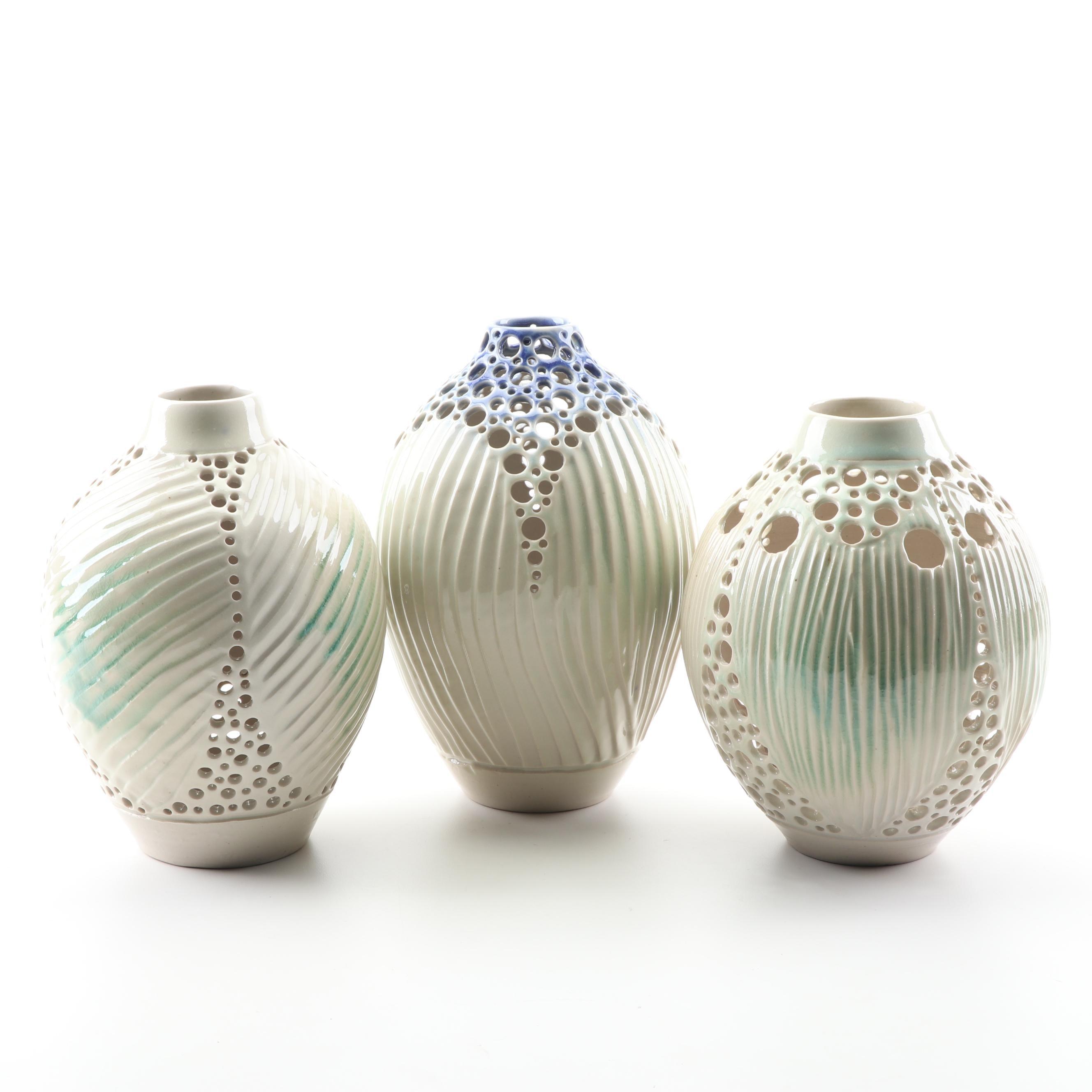 """Ben Davison Reticulated and Carved Porcelain """"Holepot"""" Vases"""
