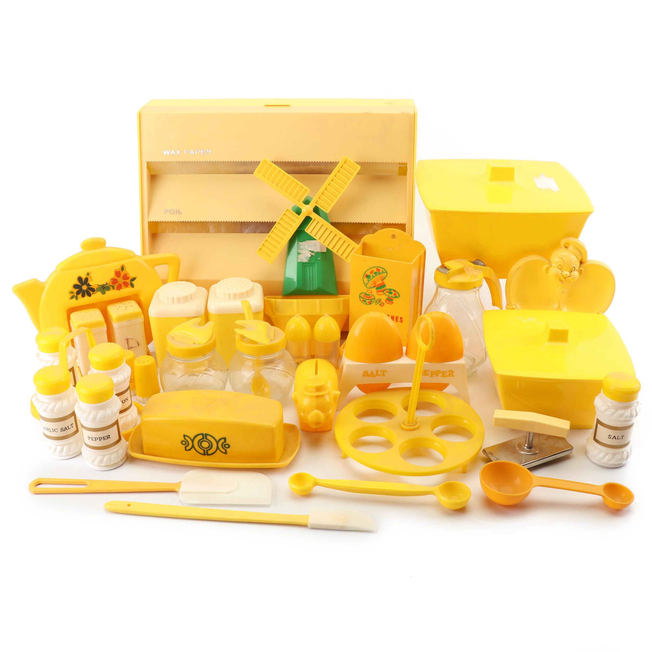 Yellow Plastic Kitchen and Table Accessories, Mid-Century