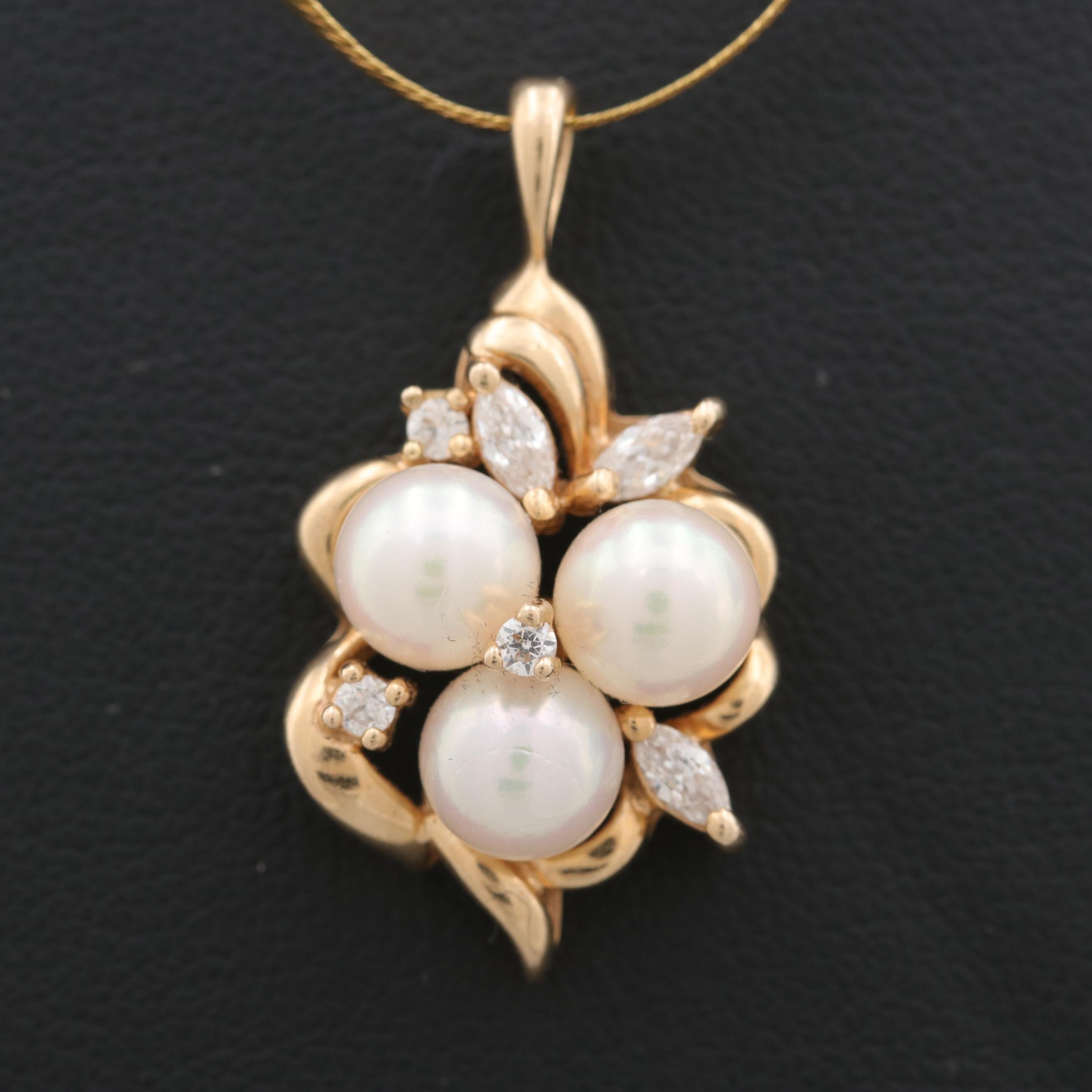 14K Yellow Gold Cultured Pearl and Cubic Zirconia Pendant Necklace