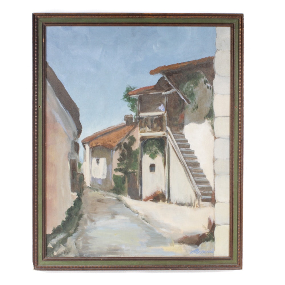 Architectural Oil on Canvas Painting