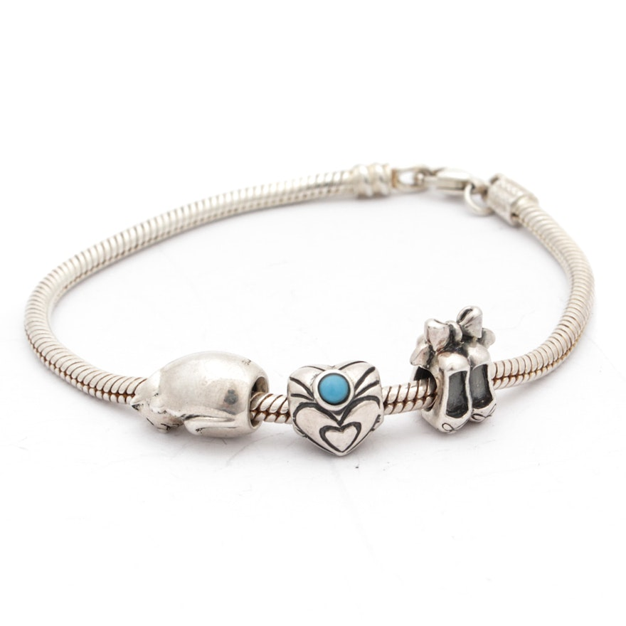 130ce96cd Sterling Silver Bracelet with Chamilia Charms : EBTH