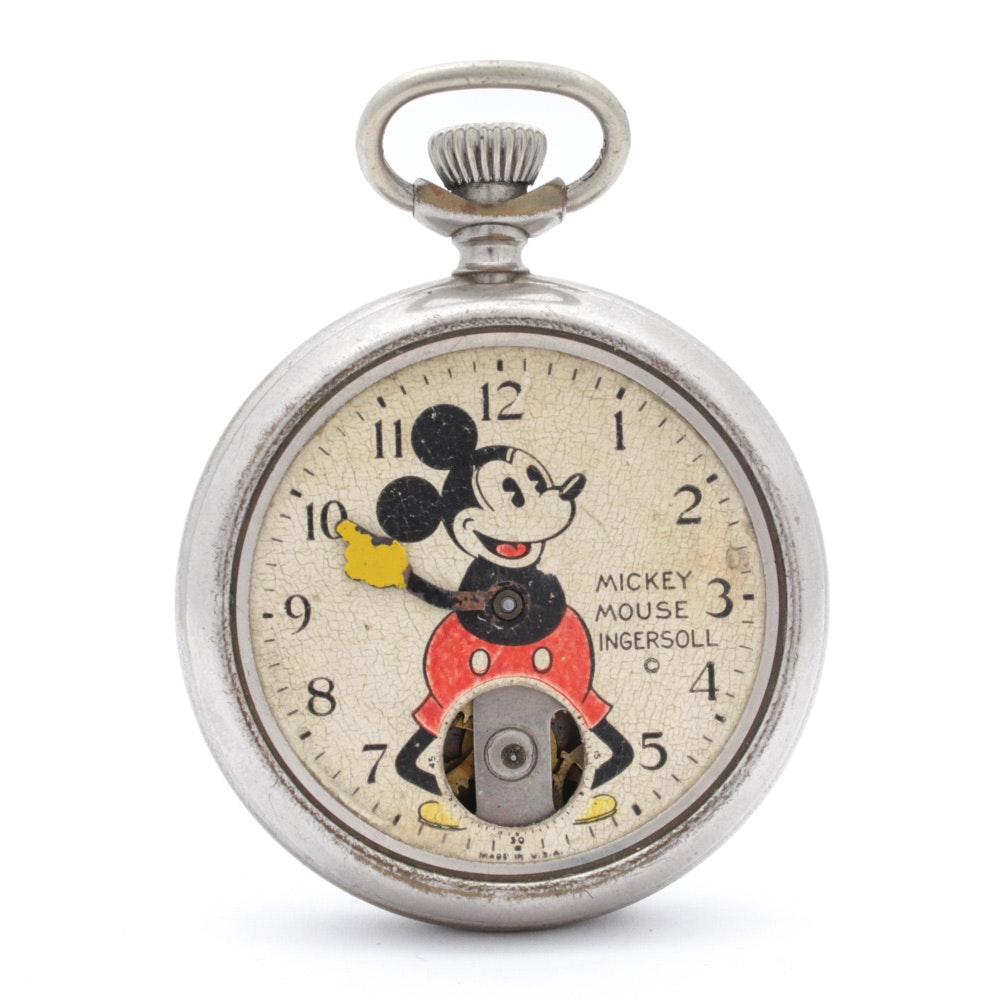 "1930s Ingersoll ""Mickey Mouse"" Pocket Watch"