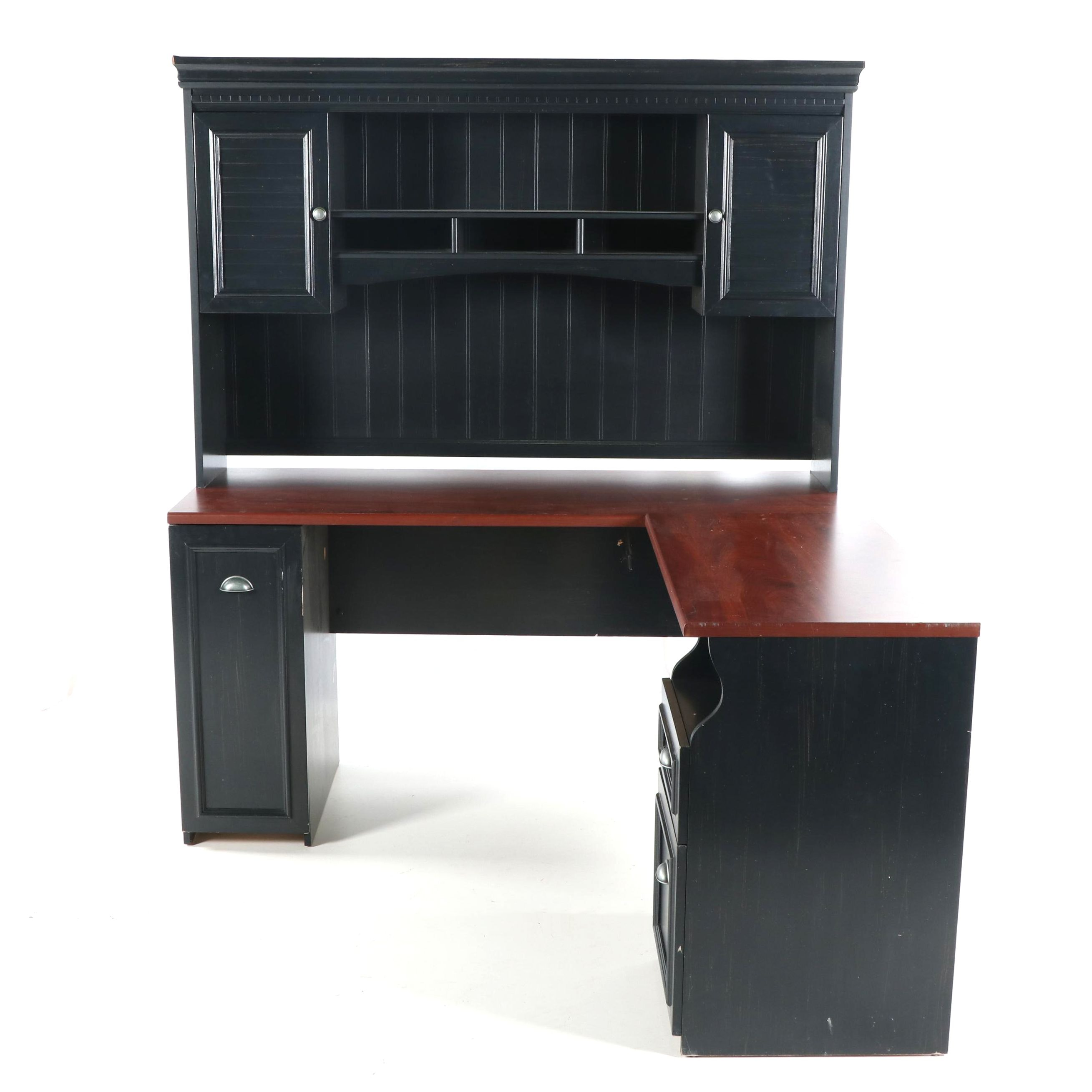Cape Cod Style Engineered Wood L-Shaped Desk with Bookcase, 21st Century