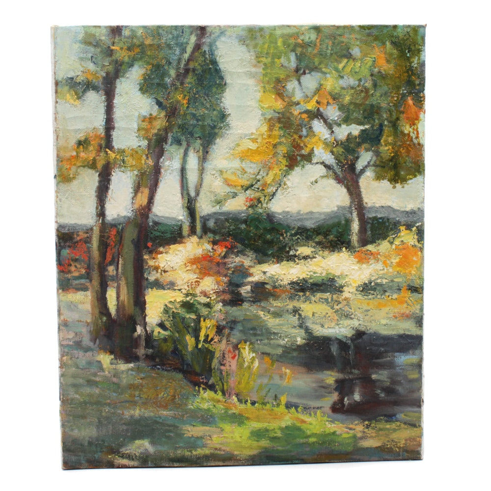 Leah Frandzel Oil Landscape Painting of Pond