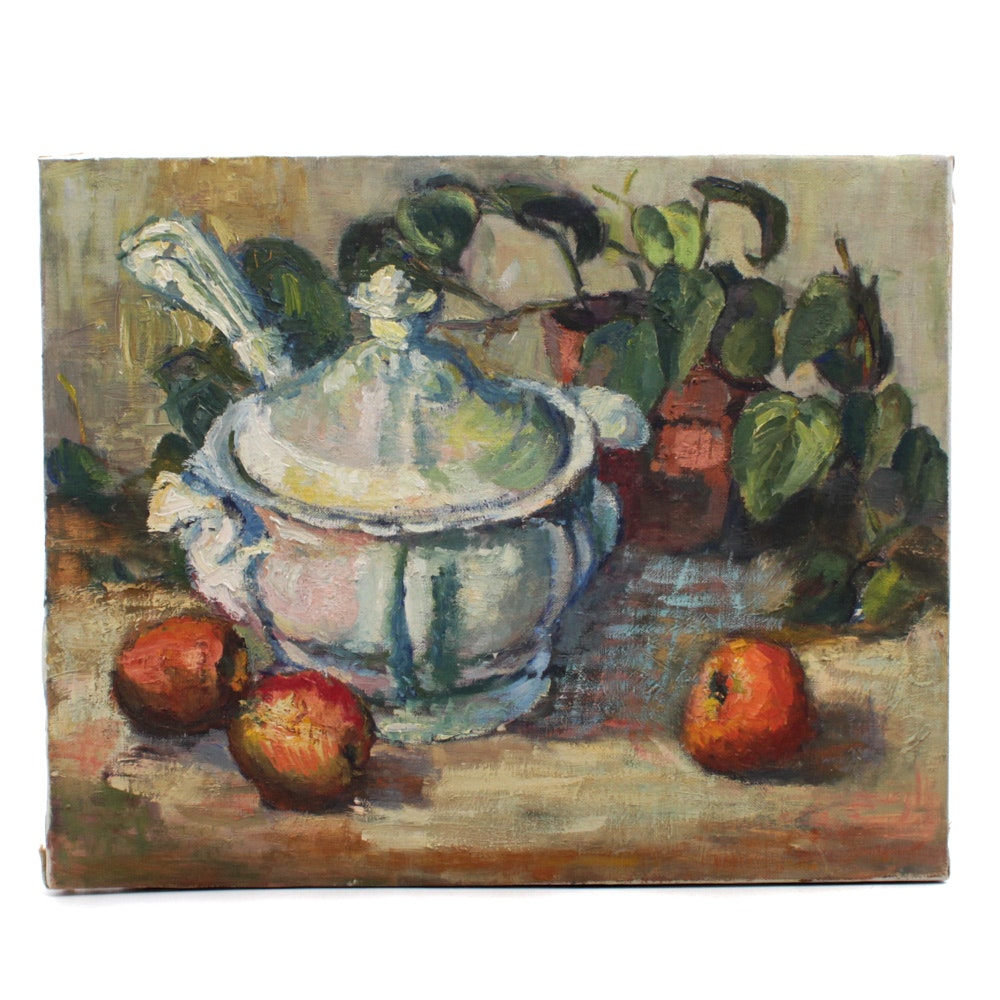 Leah Frandzel Still Life Oil Painting of Apples and Lidded Dish