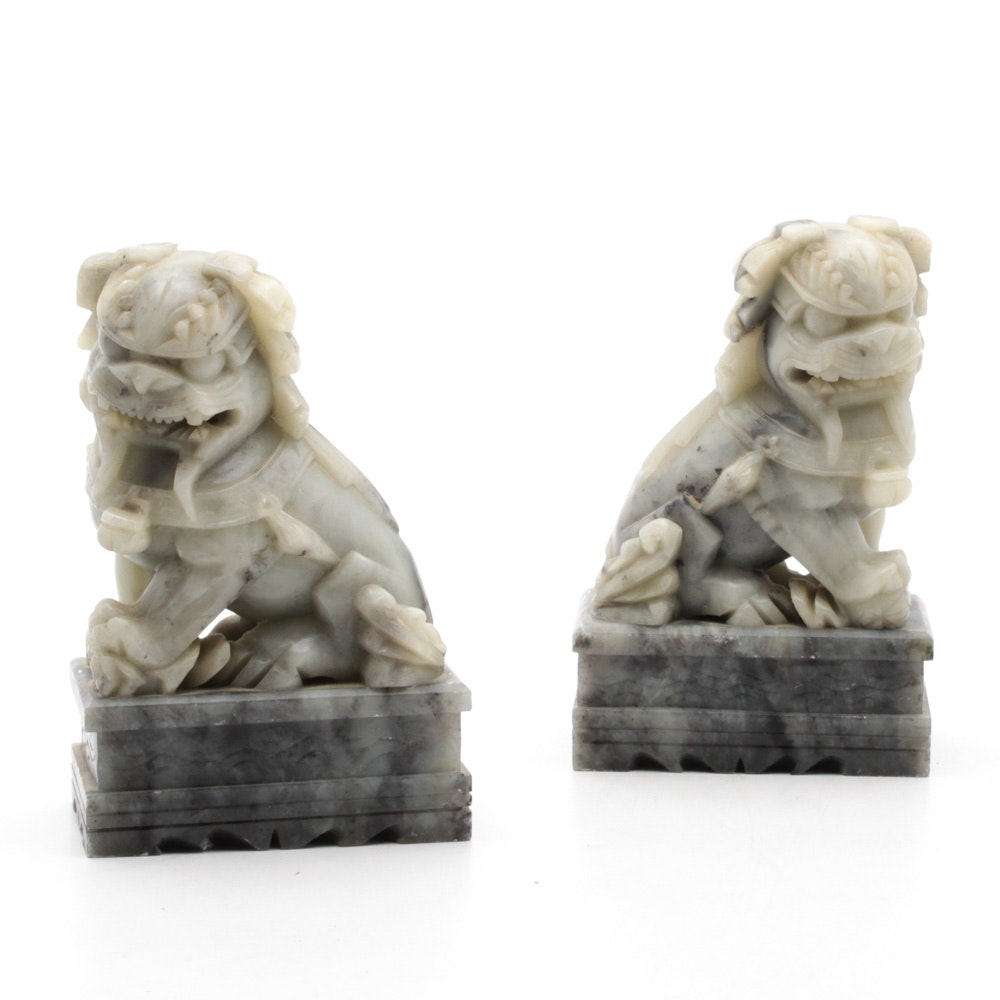 Chinese Soapstone Guardian Lion Figurines