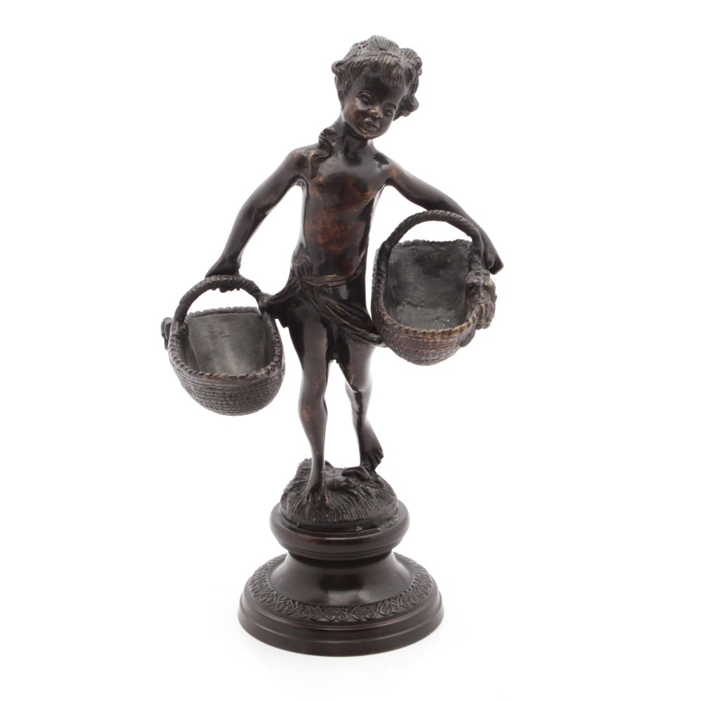 Bronze Statue of Child Carrying Baskets