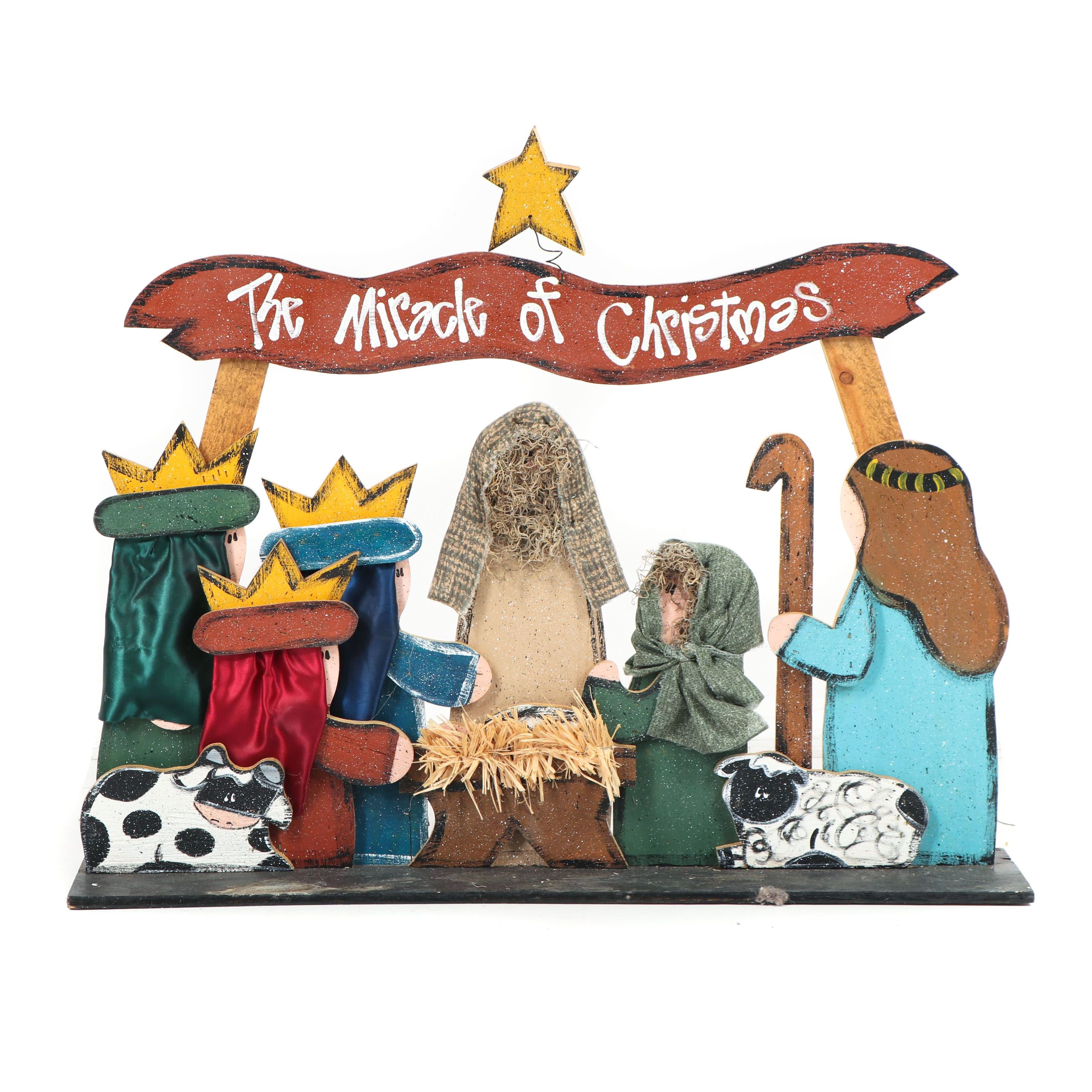 "Hand-Painted Decorated Plywood ""The Miracle of Christmas"" Nativity Scene"