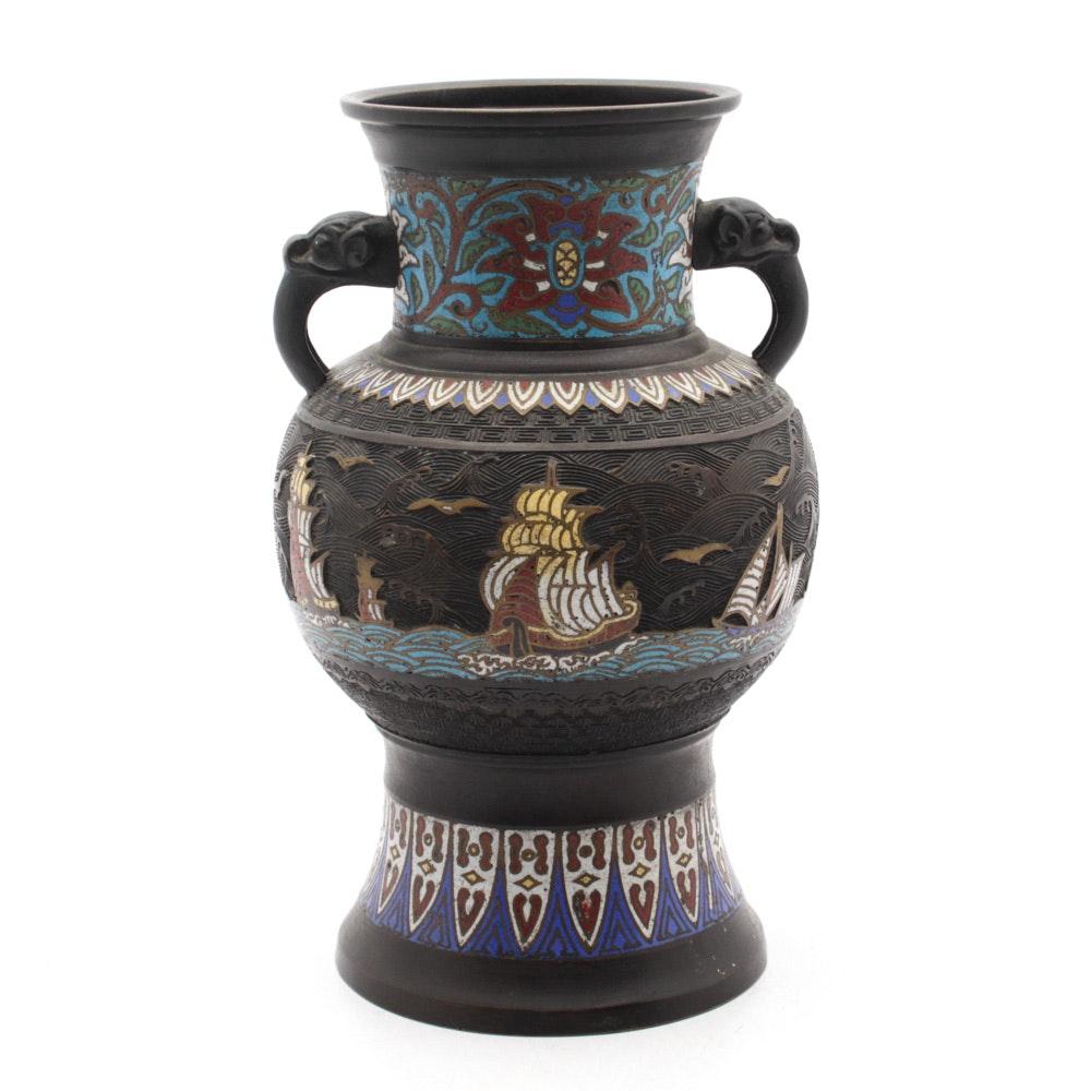Japanese Champlevé and Cloisonné Bronze Vase