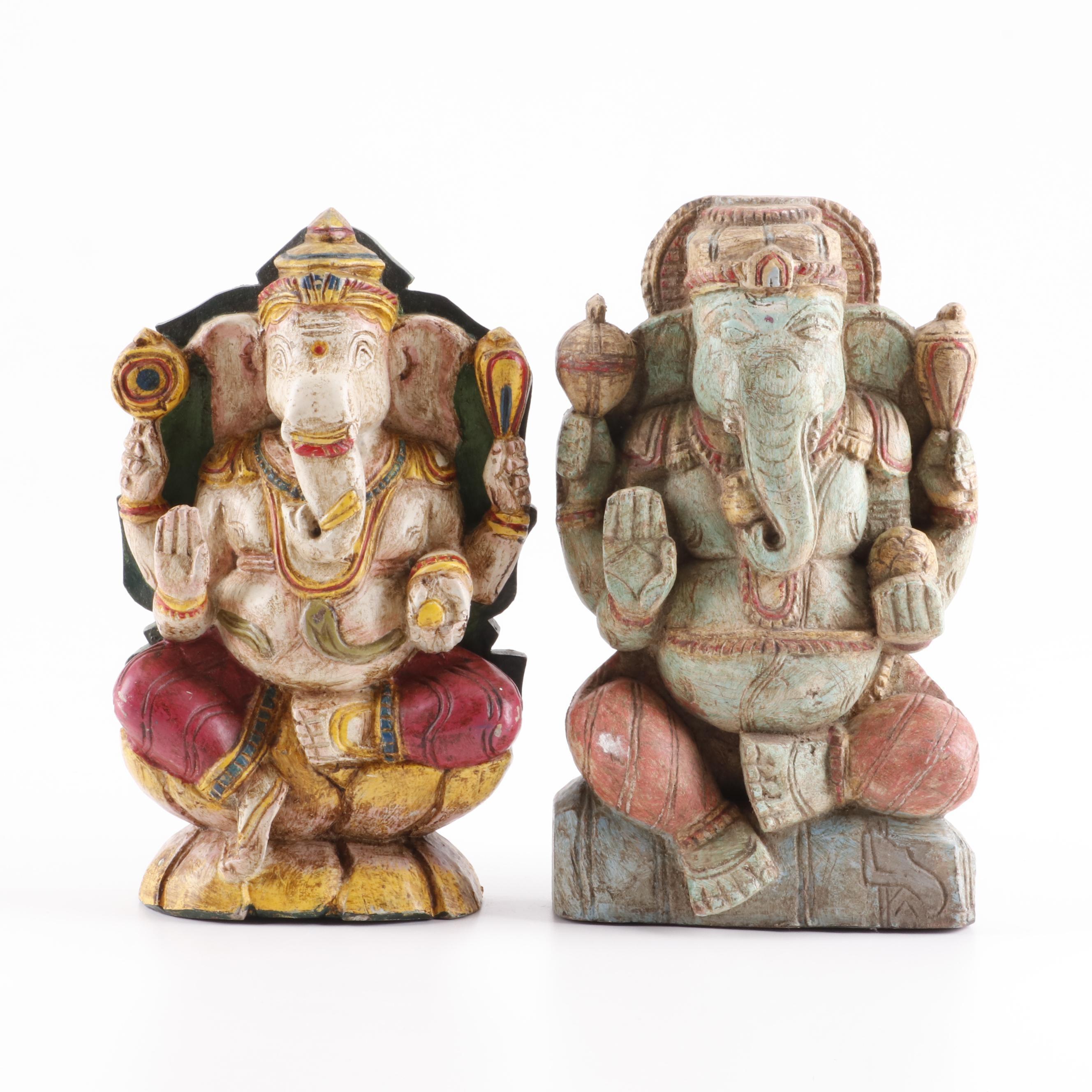 Polychrome Wood Sculptures of Ganesha