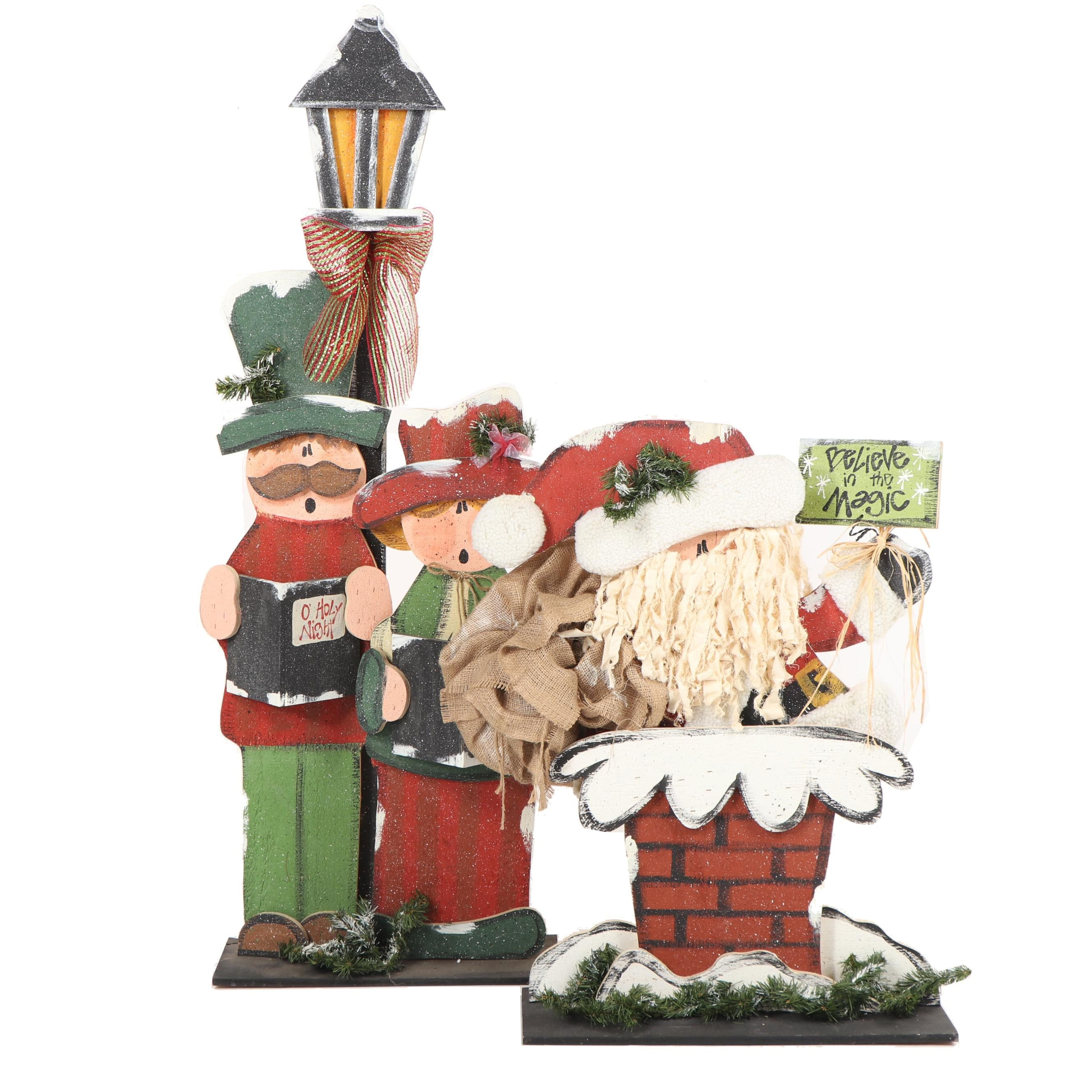 Hand-Painted Decorated Plywood Santa and Carolers Christmas Decor