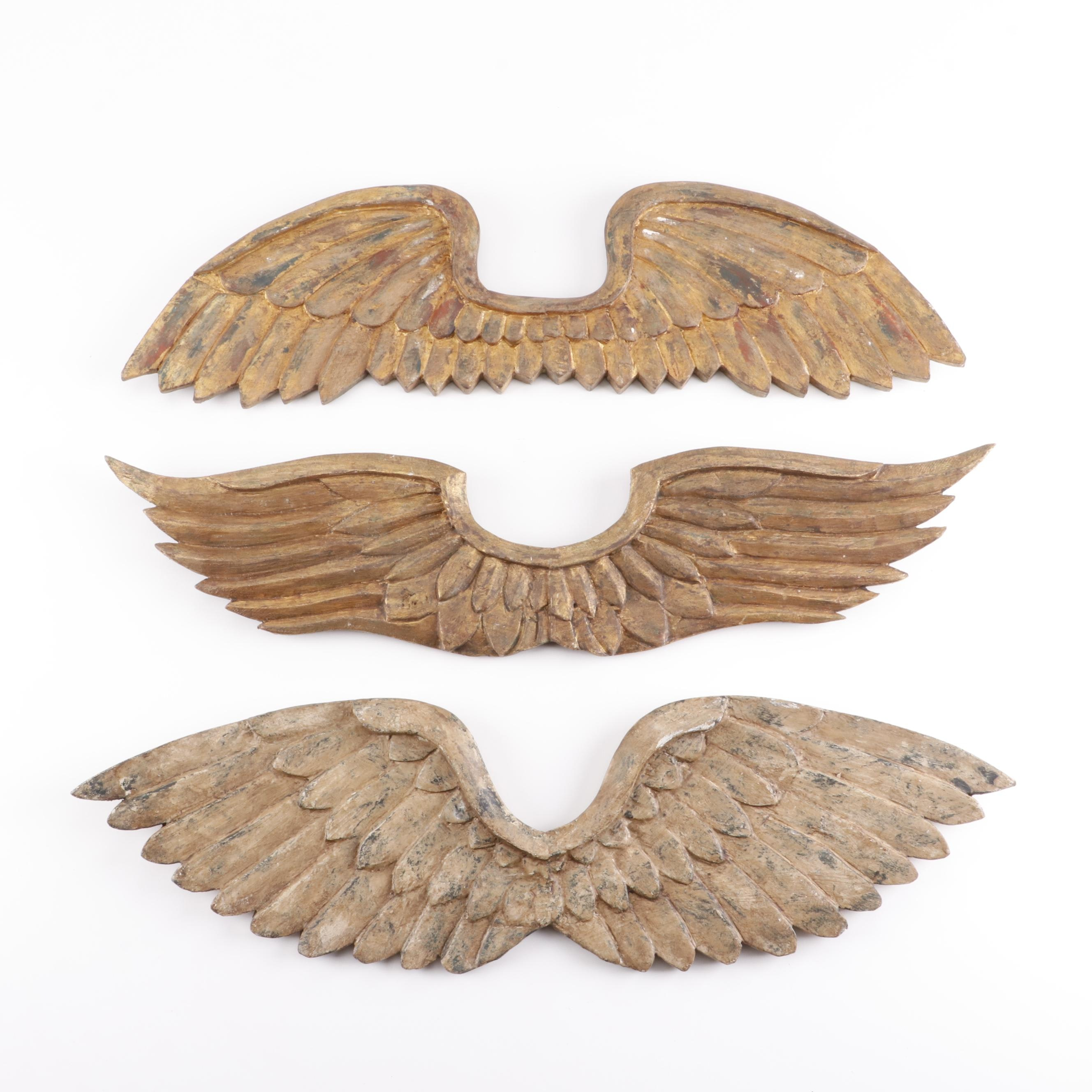 Polychrome Carved Wood Wings