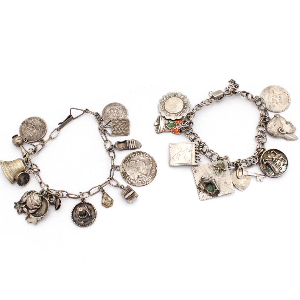 Sterling Silver and Silver Tone Charm Bracelets