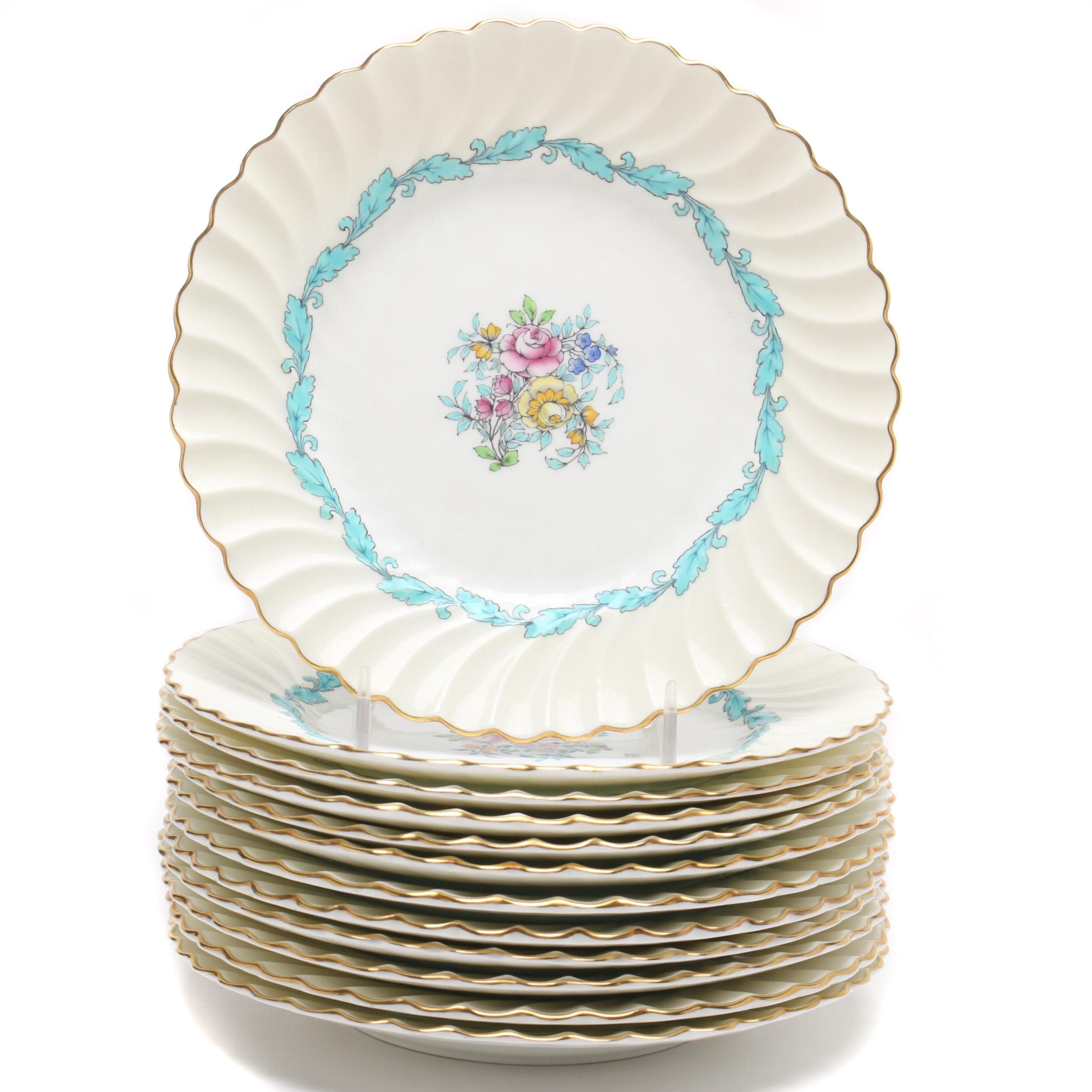 "Minton ""Ardmore"" Hand-Colored Bone China Salad Plates, Mid-Century"