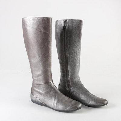 b575094e5db Women s Prada Metallic Silver Leather Zip Boots