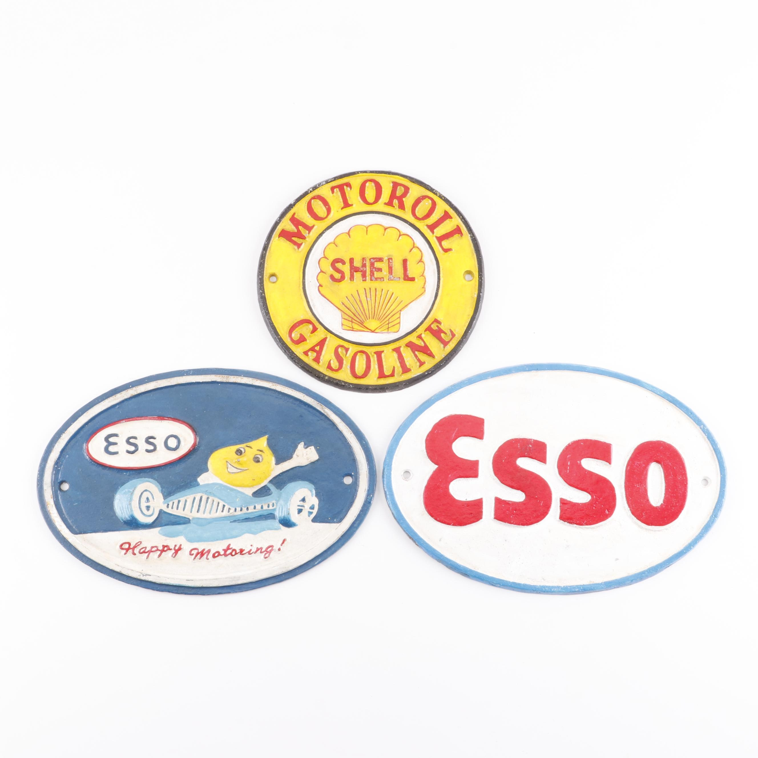 Cast Iron Reproduction Advertising Signs including Shell and Esso