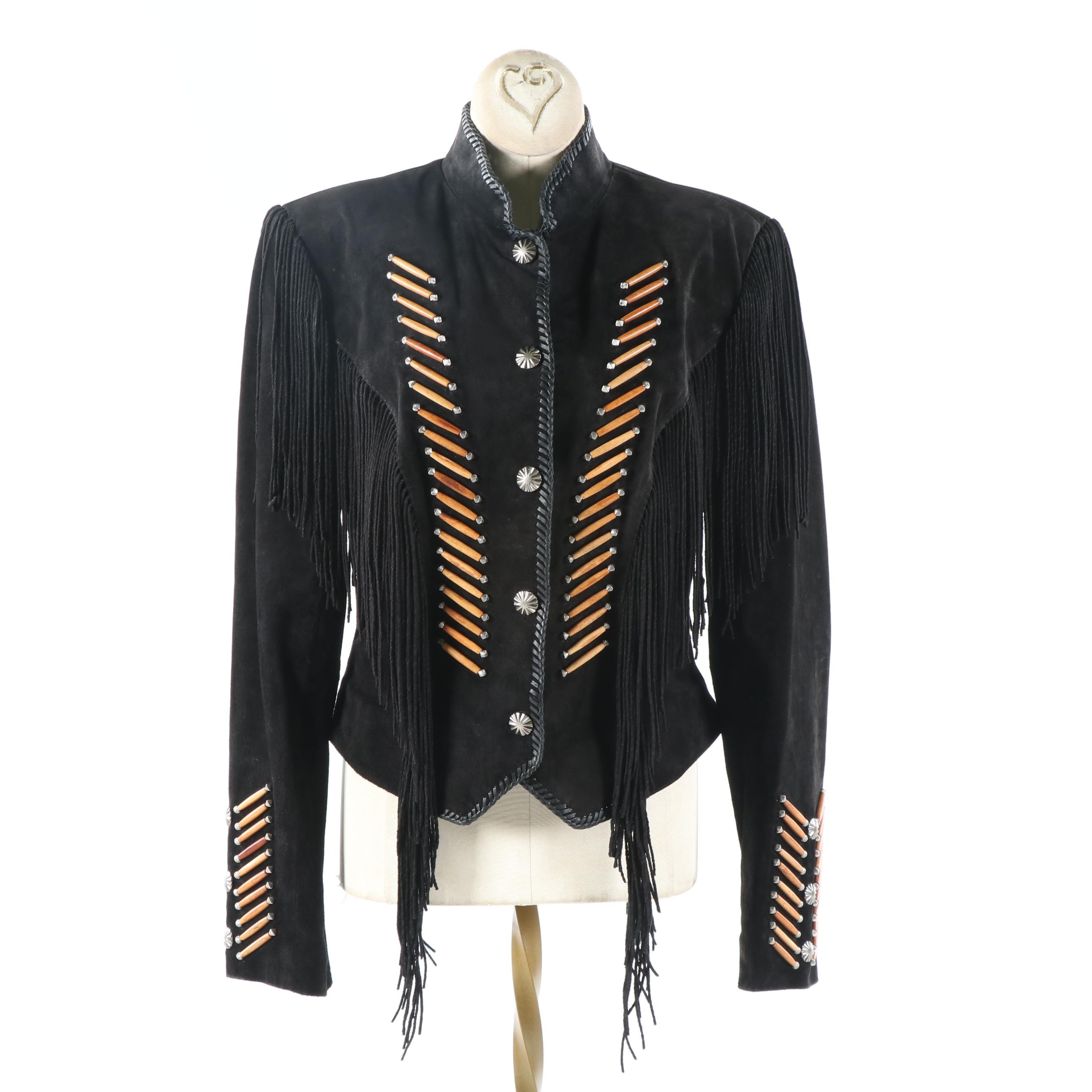 Women's Cripple Creek Southwestern Style Black Suede Jacket