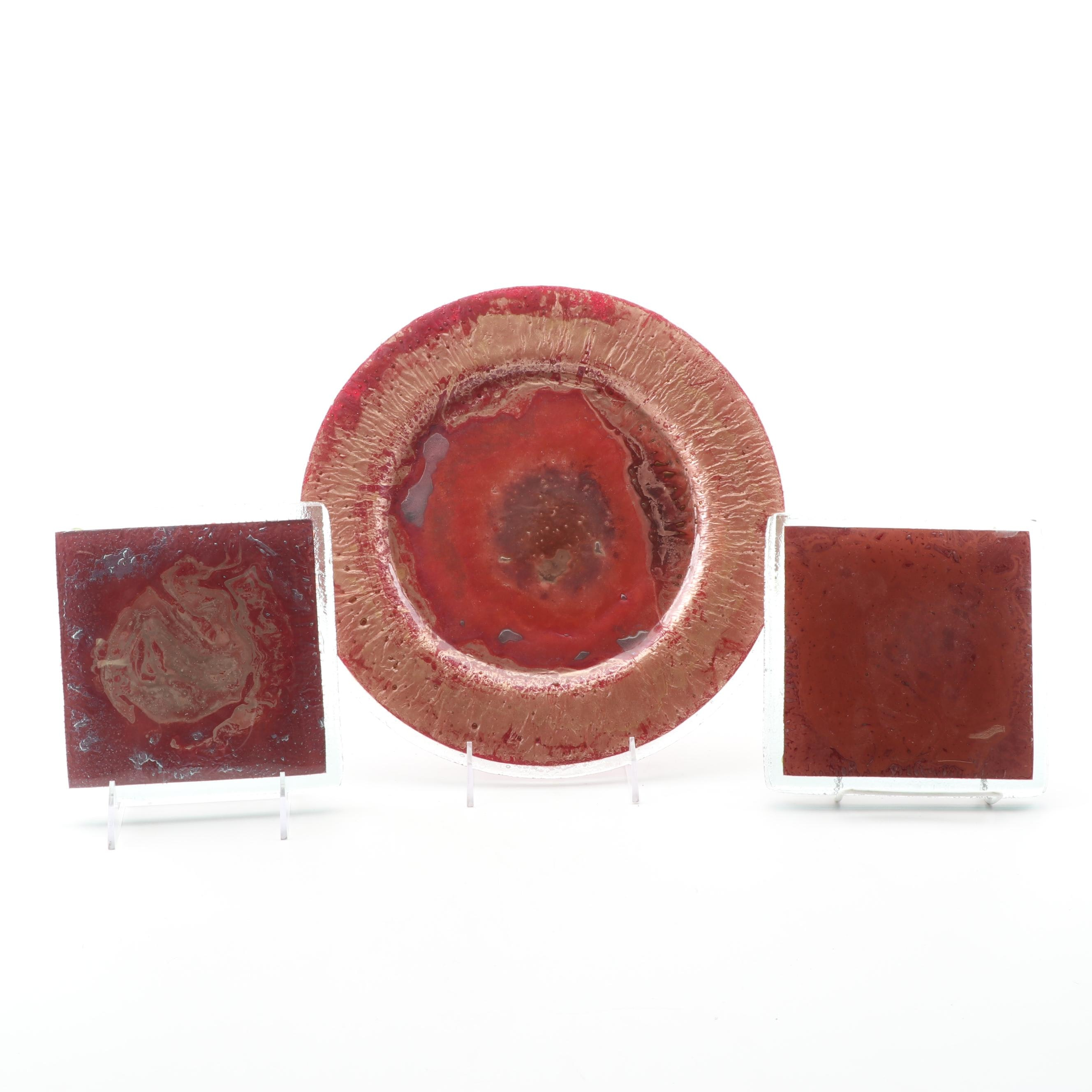 Jones Glassworks Fused Art Glass Plate and Square Coasters