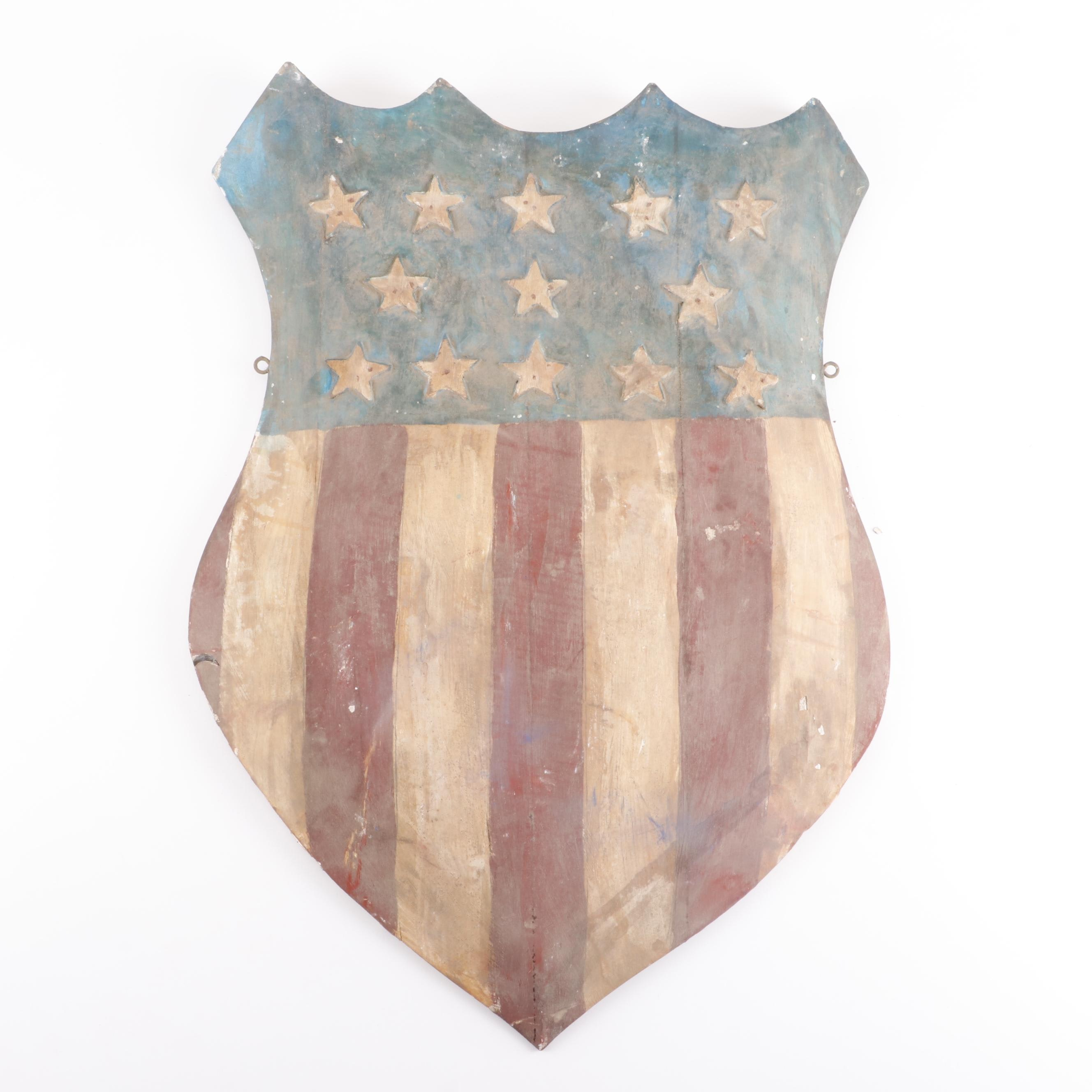 Carved Wood Polychrome  American Shield