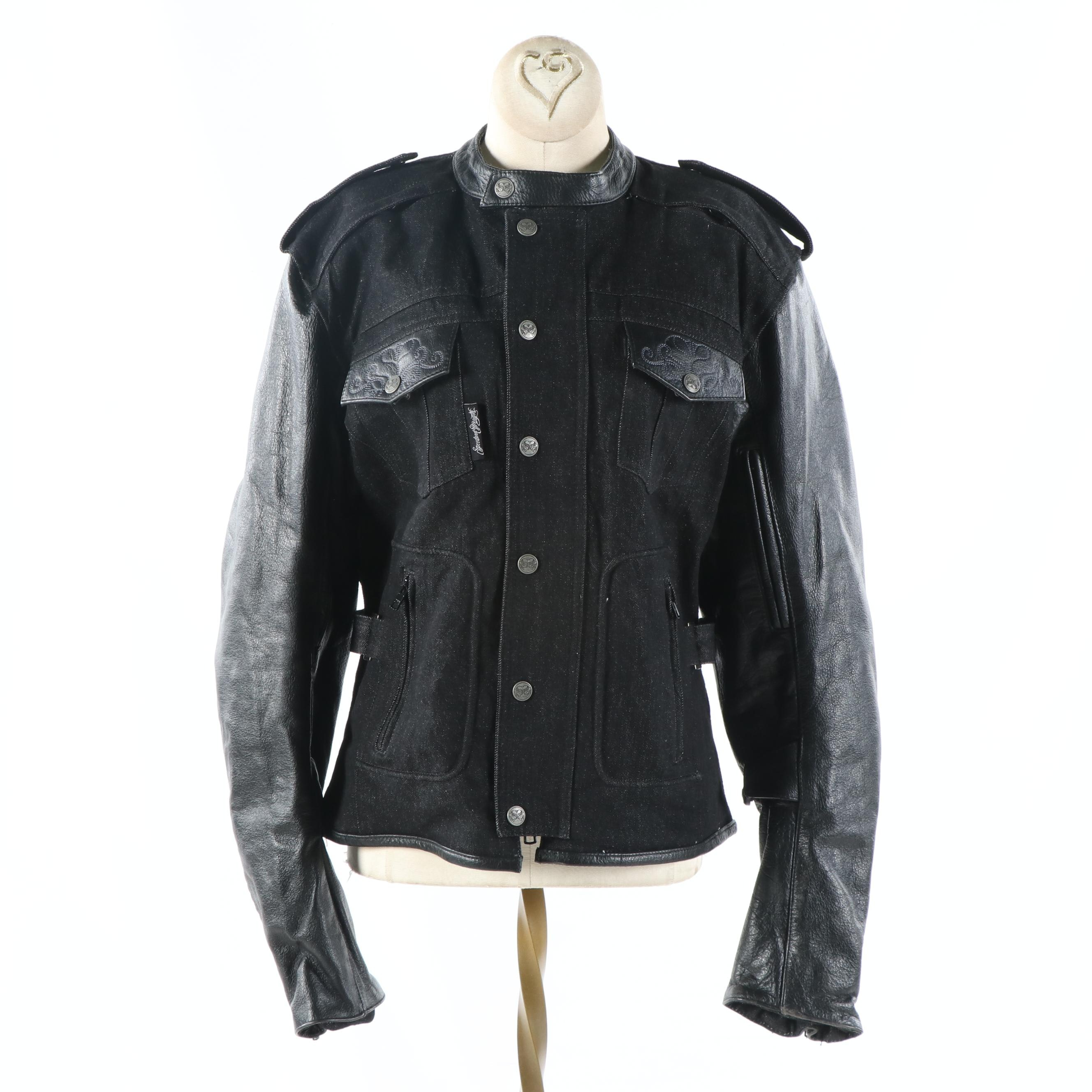 Women's Speed and Strength Six Speed Sisters Denim and Leather Motorcycle Jacket