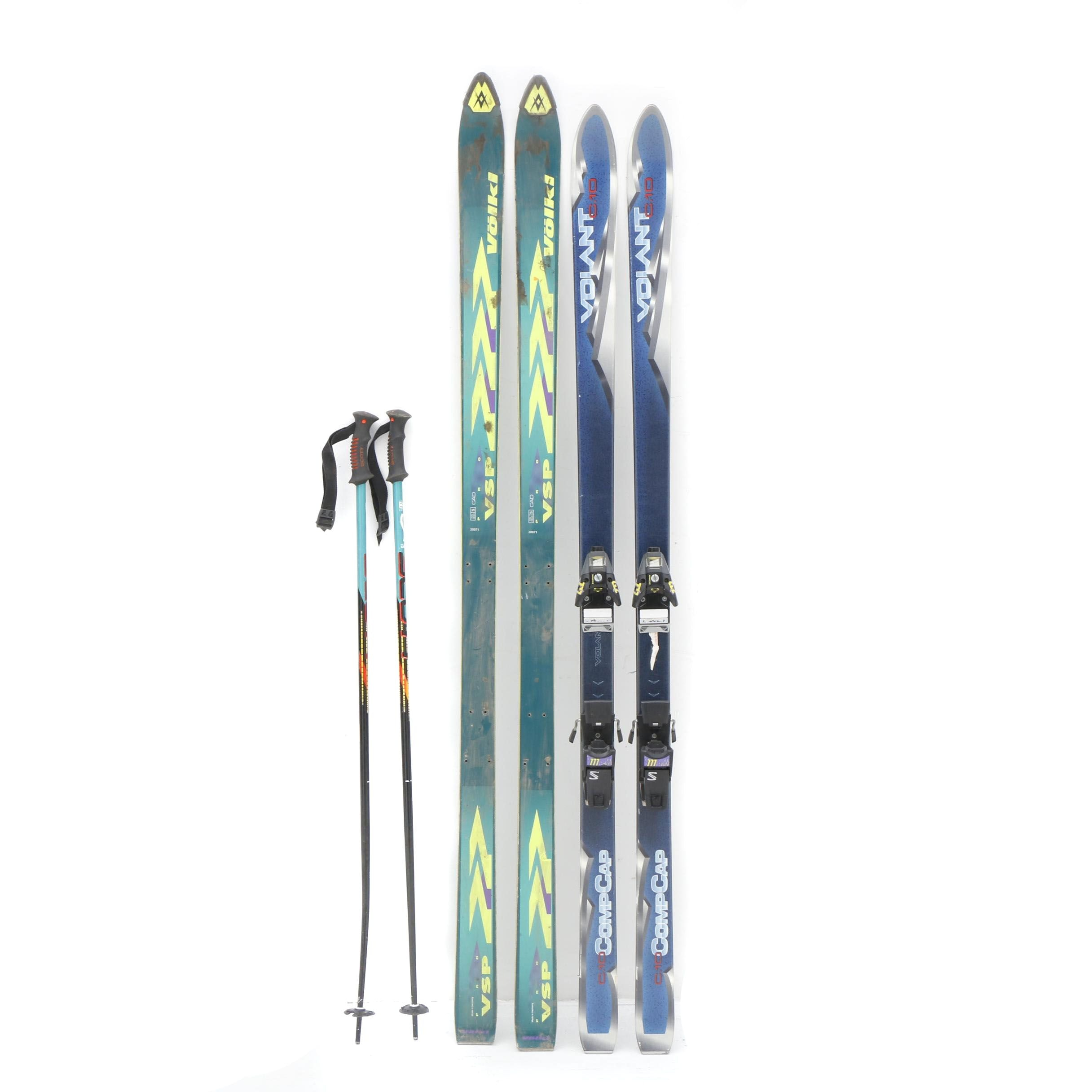 Volant C.10 and Volkl VSP Snow Skis with Soloman Binding