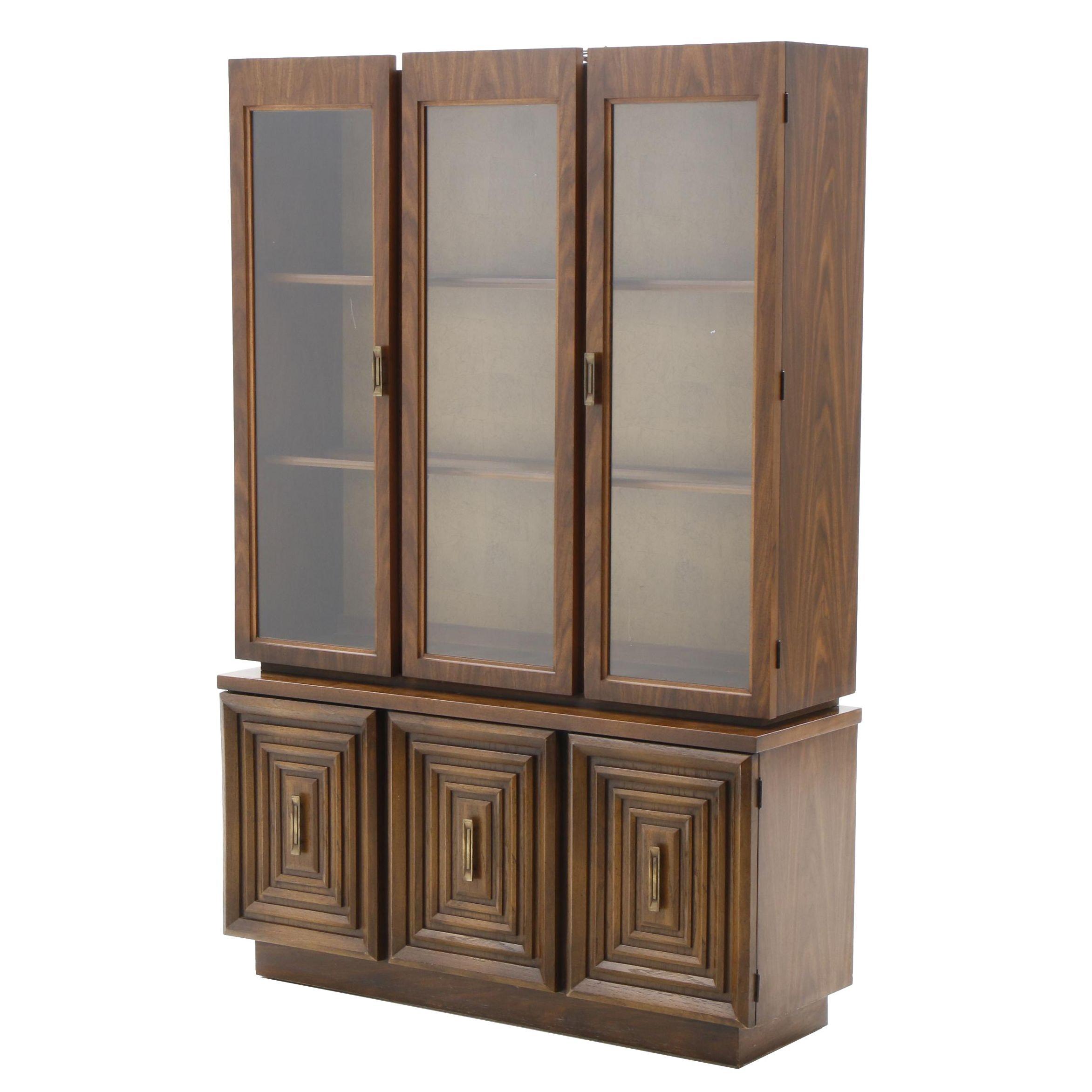 Mid Century Modern Walnut Veneer China Cabinet