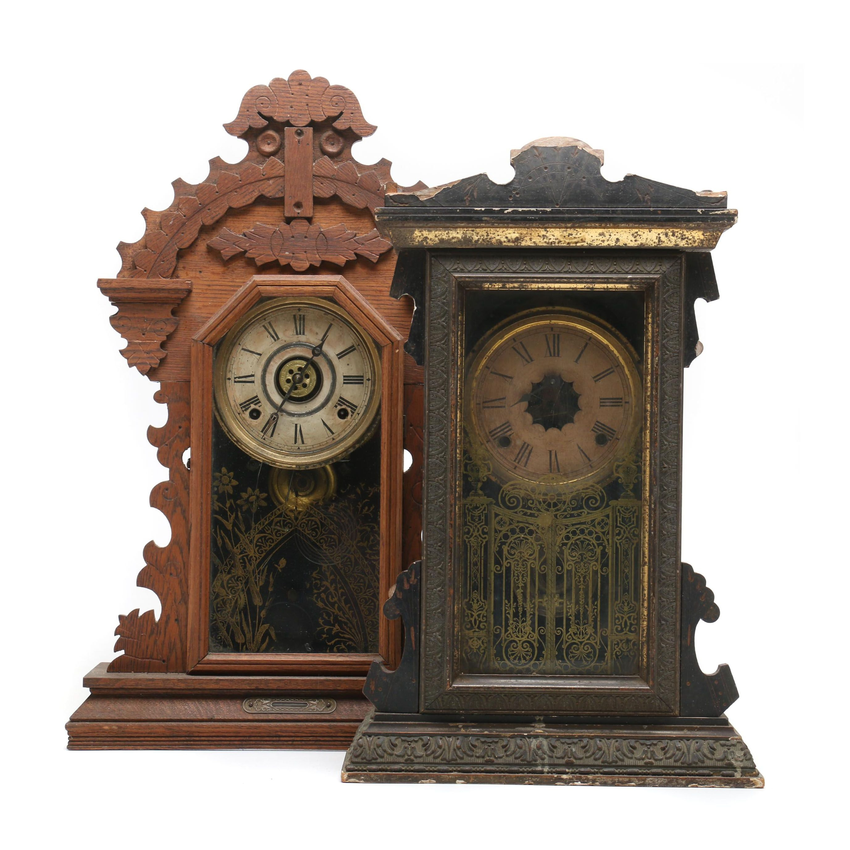 "Ingraham Kitchen Clock and Ansonia ""Empress"" Wooden Kitchen Clock, circa 1900"