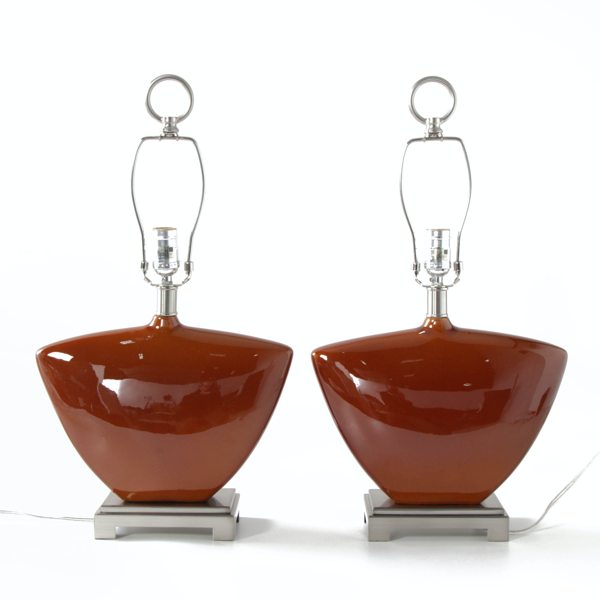 Modern Russet Crackle Glazed Ceramic Table Lamps with Brushed Finished Bases