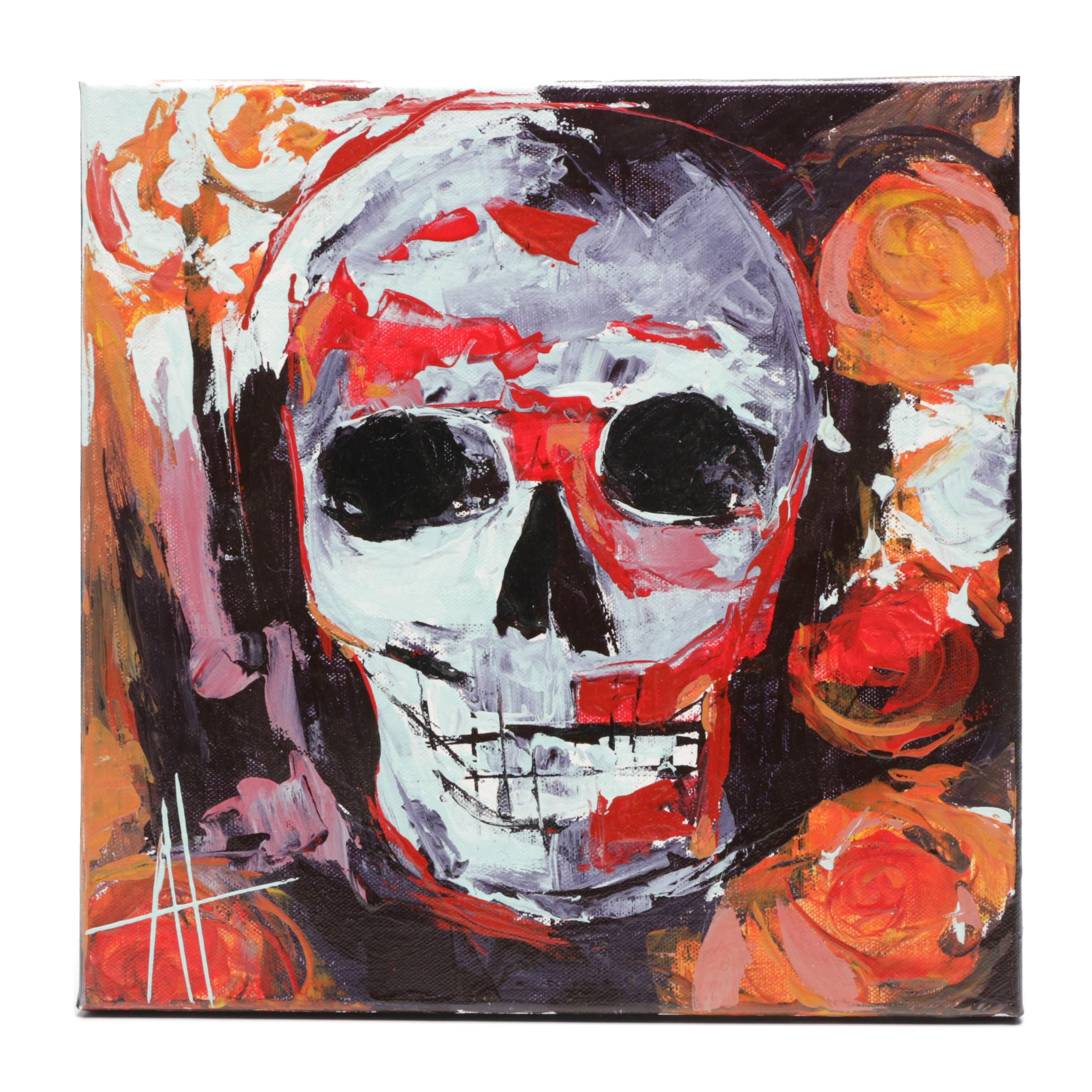 Anne Thouthip Acrylic Painting of Skull