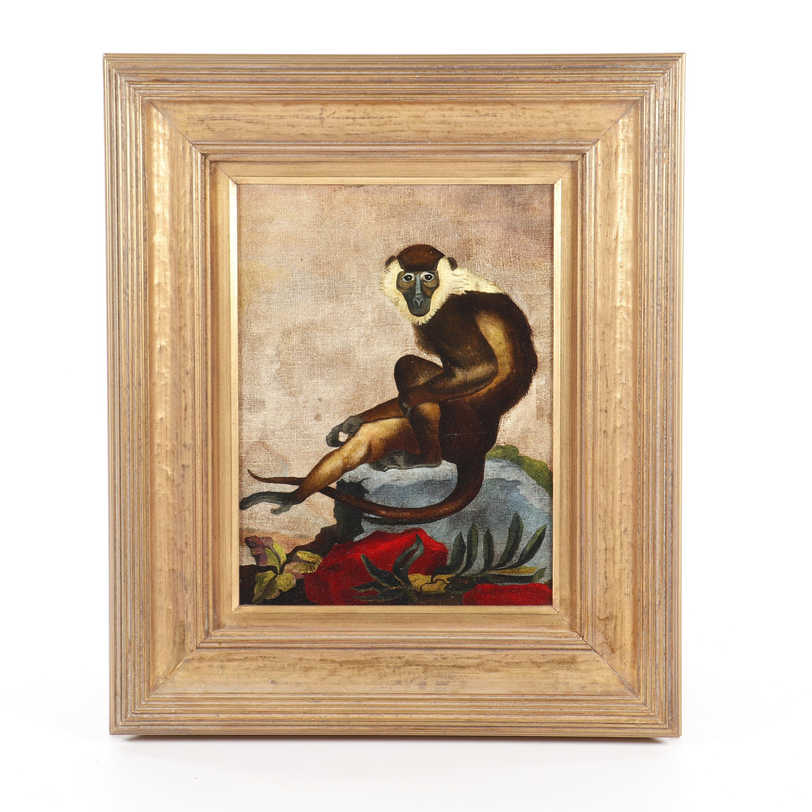 Late 20th Century Oil Painting of Monkey