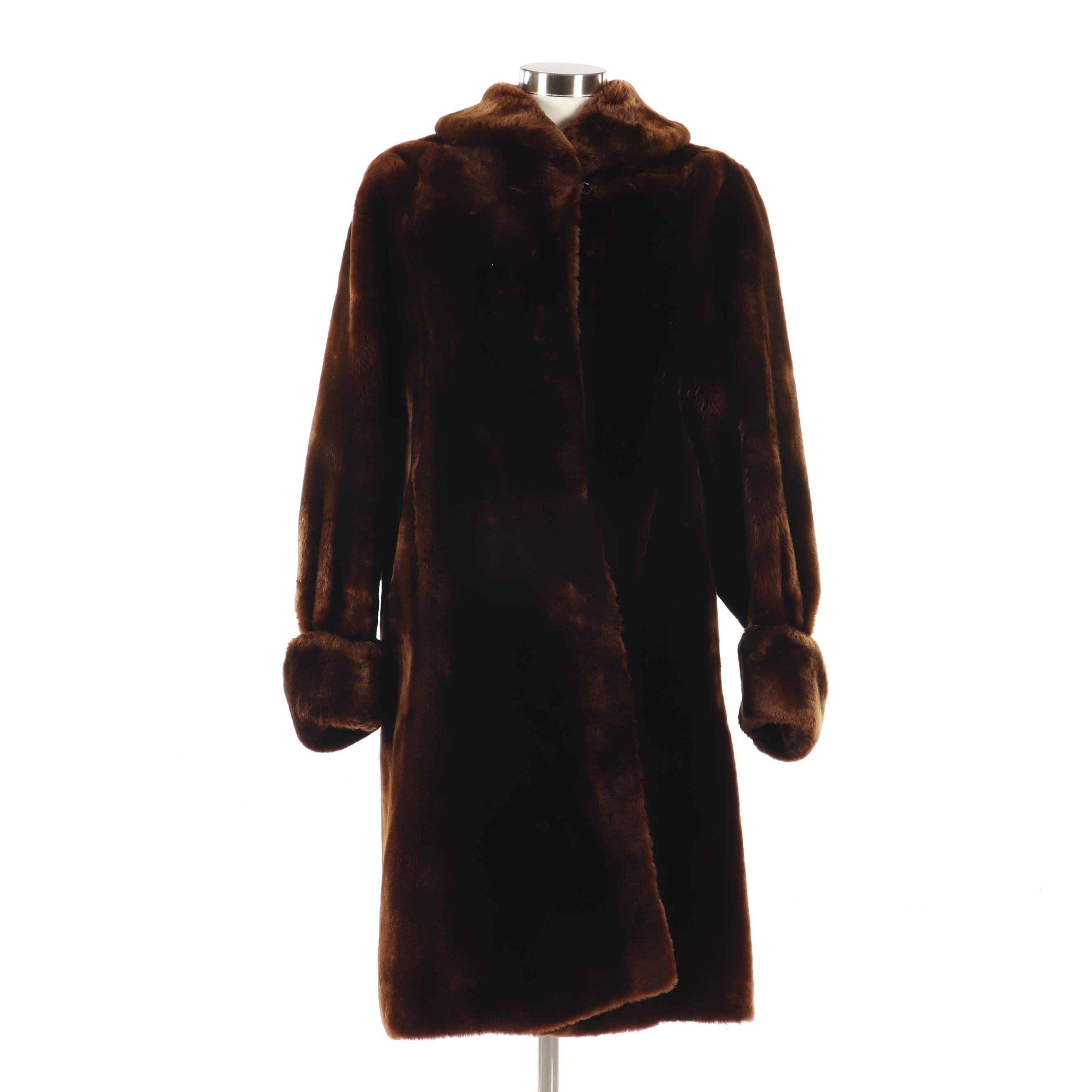 Women's Vintage Brown Mouton Fur Coat