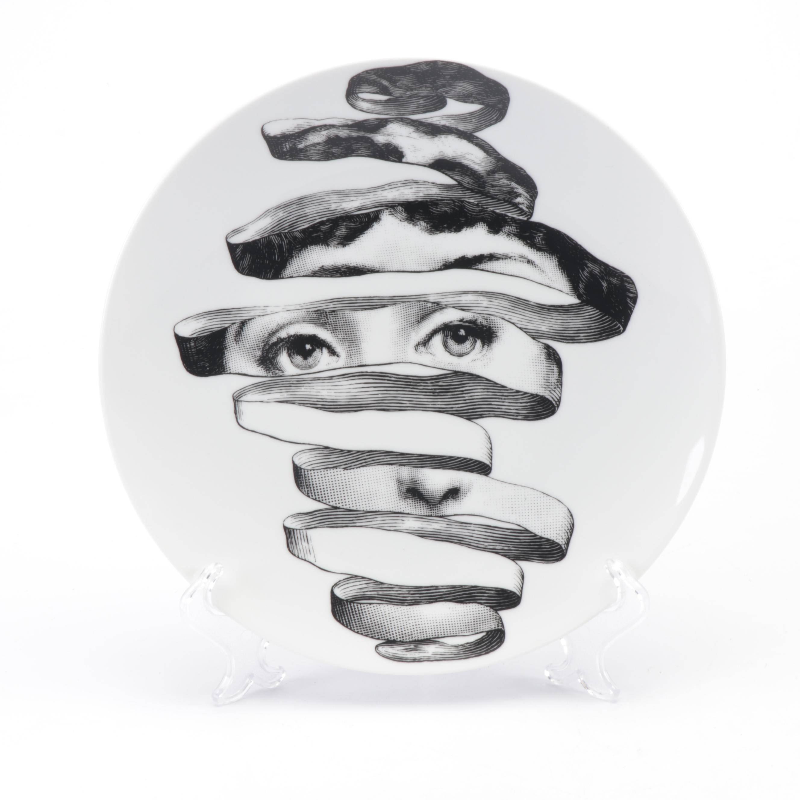 """Fornasetti """"Tema e Variazioni"""" Collector's Plate with Hanging Wire"""
