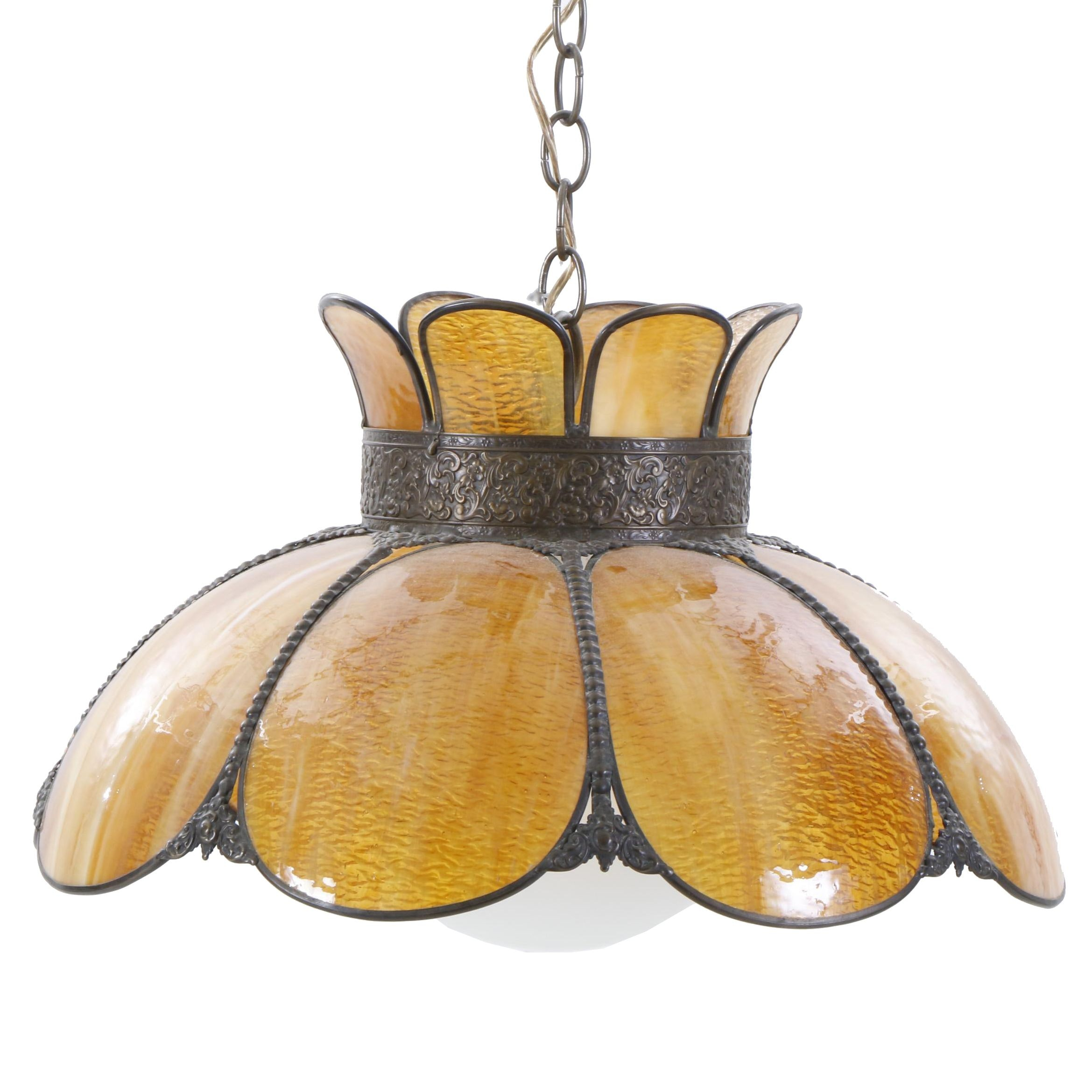 Amber Stained Slag Glass Pendant Lamp, Mid to Late 20th Century