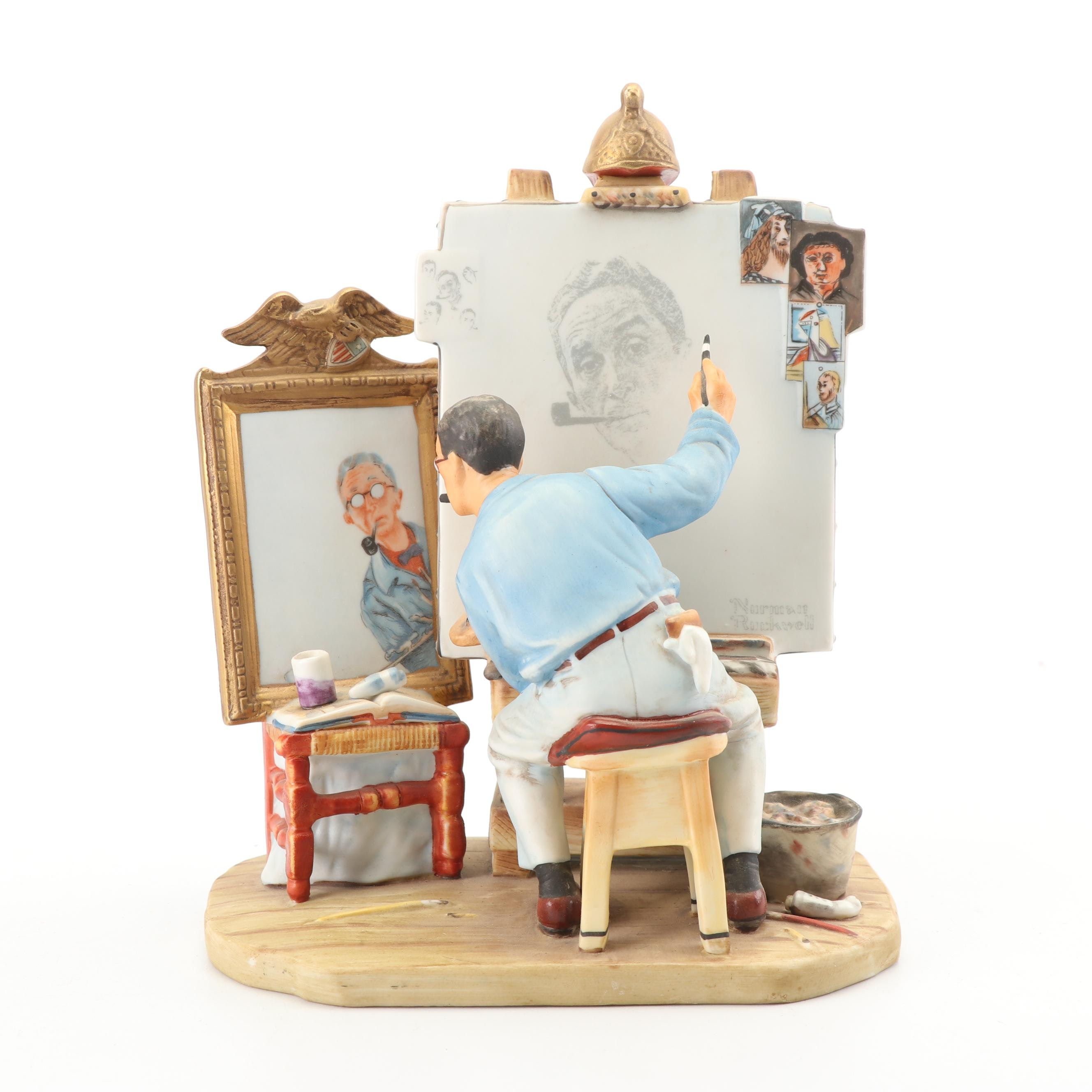 "Norman Rockwell ""Self Portrait"" Porcelain Figurine by Gorham"