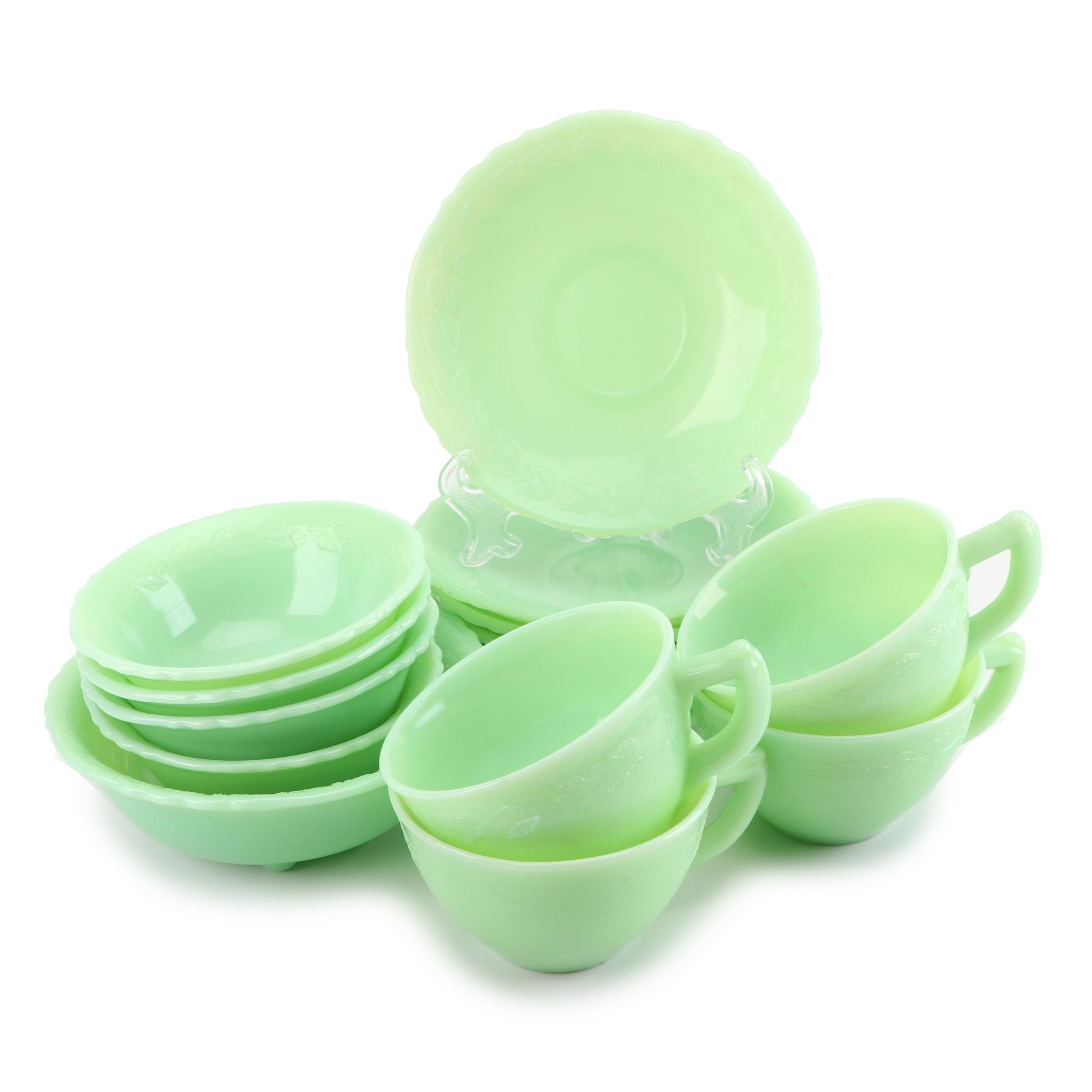 "McKee ""Laurel"" Jadeite Glass Tableware, Mid-Century"