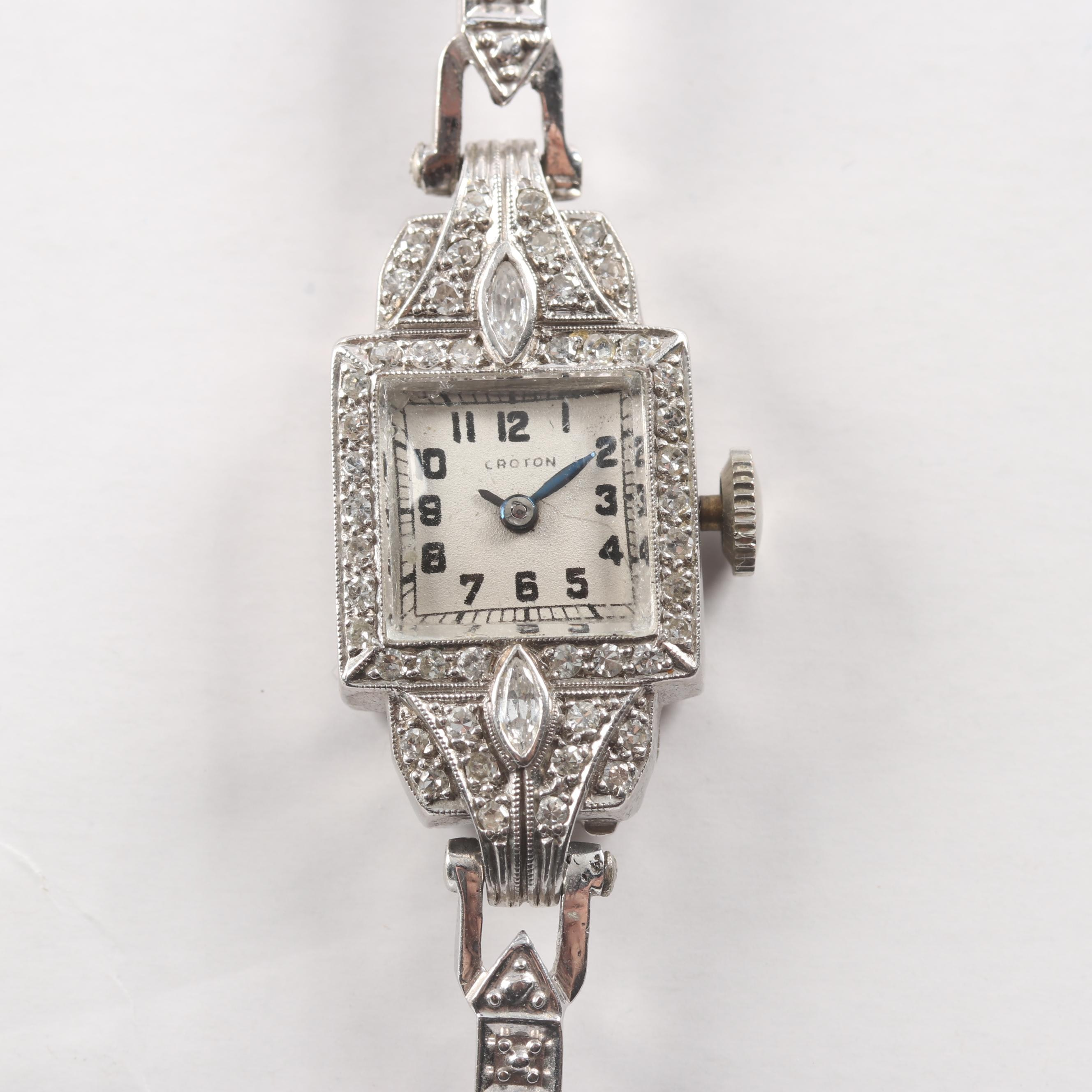 Platinum And 14K White Gold Ladies Croton Watch