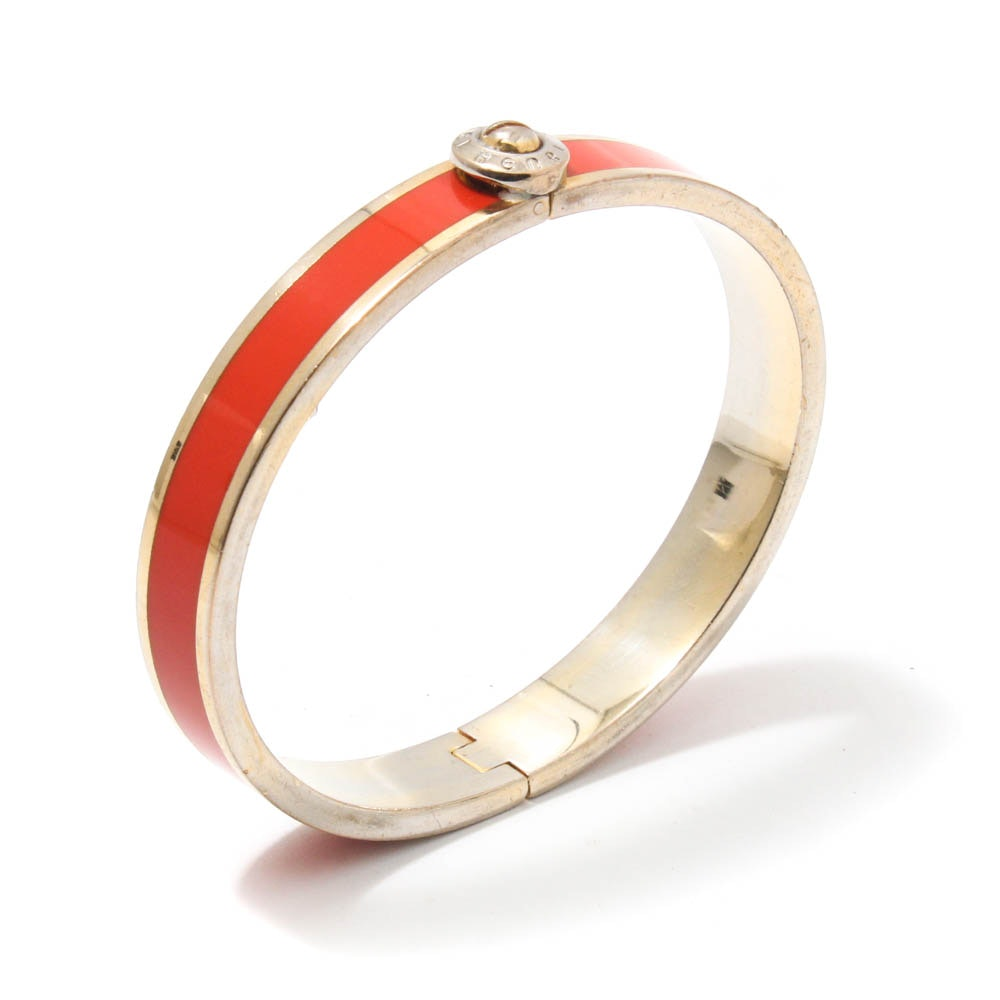 Henri Bendel Enameled Gold Tone Hinged Bracelet
