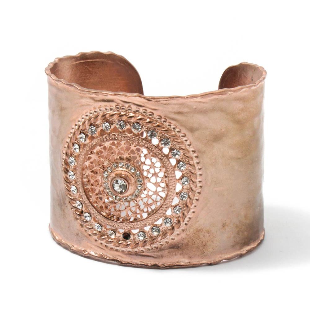 Designer Copper and Rhinestone Openwork Cuff Bracelet