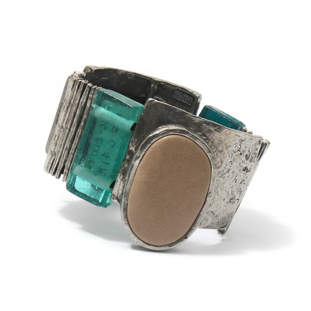 Ann Marie Chagnon Silver Tone Leather and Glass Bracelet